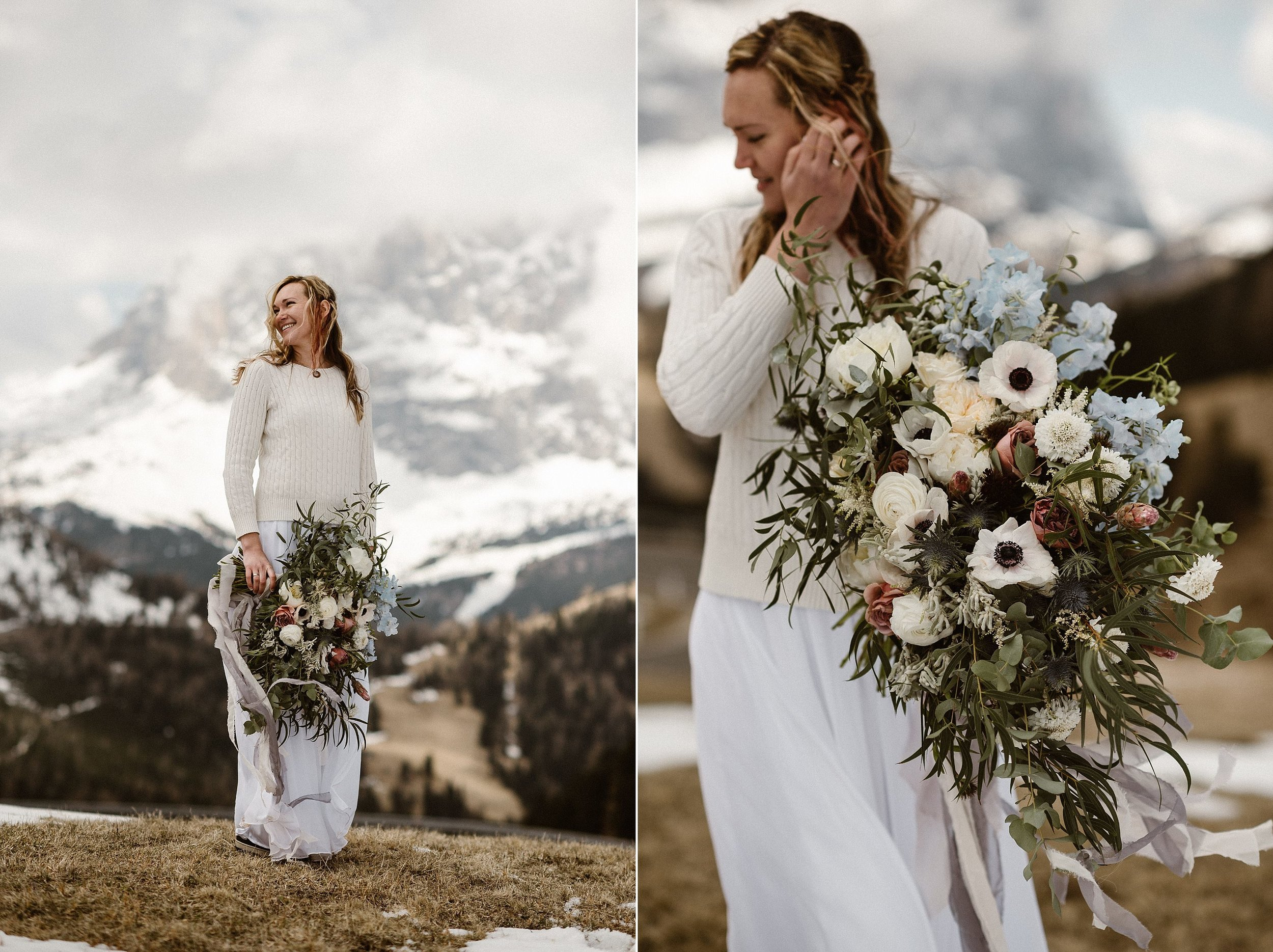 While keeping much of their intimate elopement simple, these brides did opt for an oversized spring flower bouquet brilliantly designed by Il Profumo dei fiori flower design in Northern Italy. Photos by adventurous wedding photographer Maddie Mae.