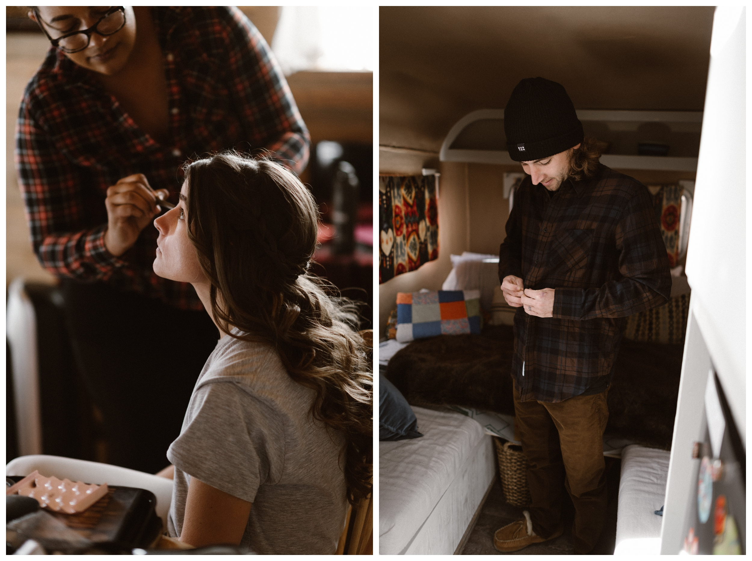 Olivia and Justin getting ready for their Great Sand Dunes National Park winter elopement in a cabin and refurbished trailer. Photo by Maddie Mae Photo, Adventures Instead.