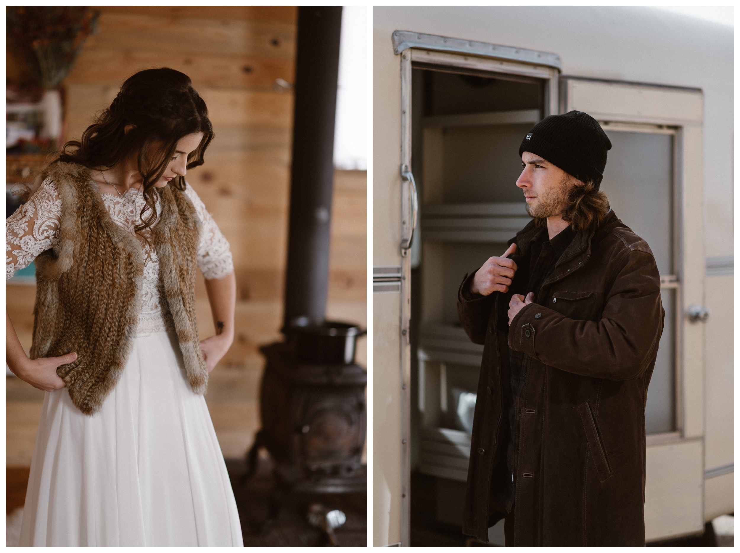 Olivia and Justin before seeing each other outside Alamosa, Colorado for their winter elopement. Photo by Maddie Mae Photo, Adventures Instead.