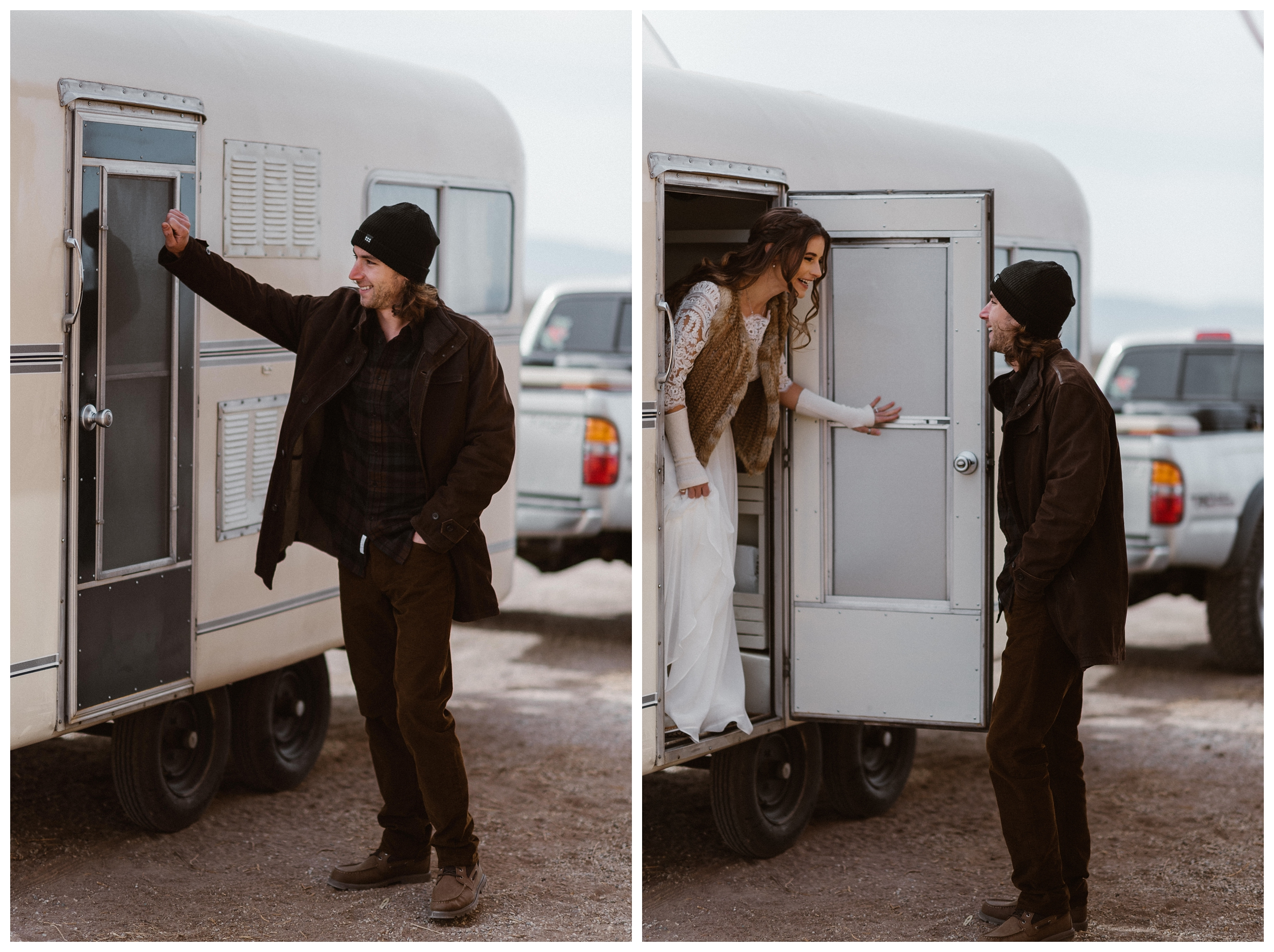 Justin knocks on the door of his refurbished trailer for his first look of his bride outside Great Sand Dunes National Park. Photo by Maddie Mae Photo, Adventures Instead.