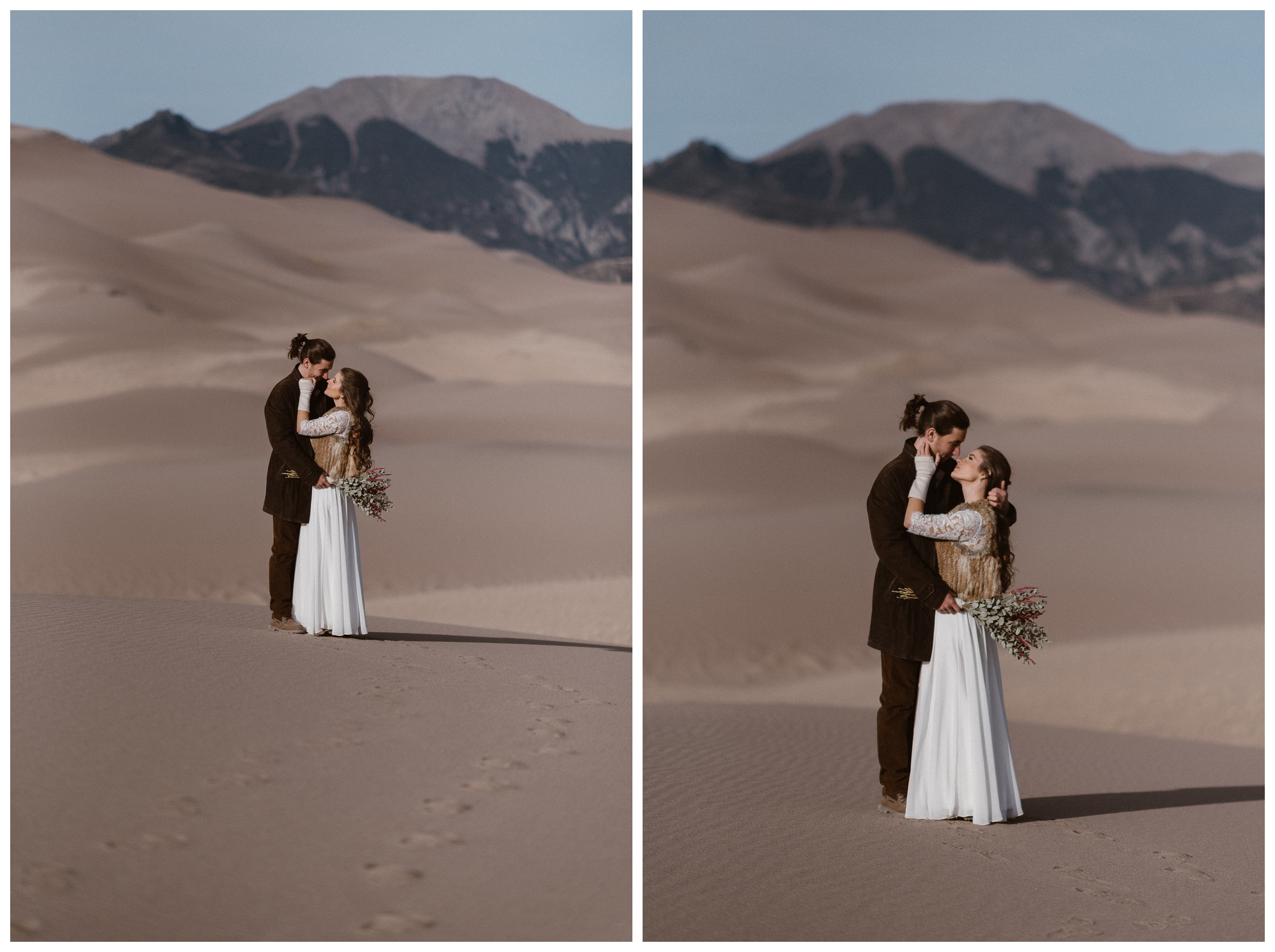 The only two people on the dunes, Olivia and Justin hold each other close during their winter adventure elopement at the Great Sand Dunes National Park. Photo by Maddie Mae Photo, Adventures Instead.