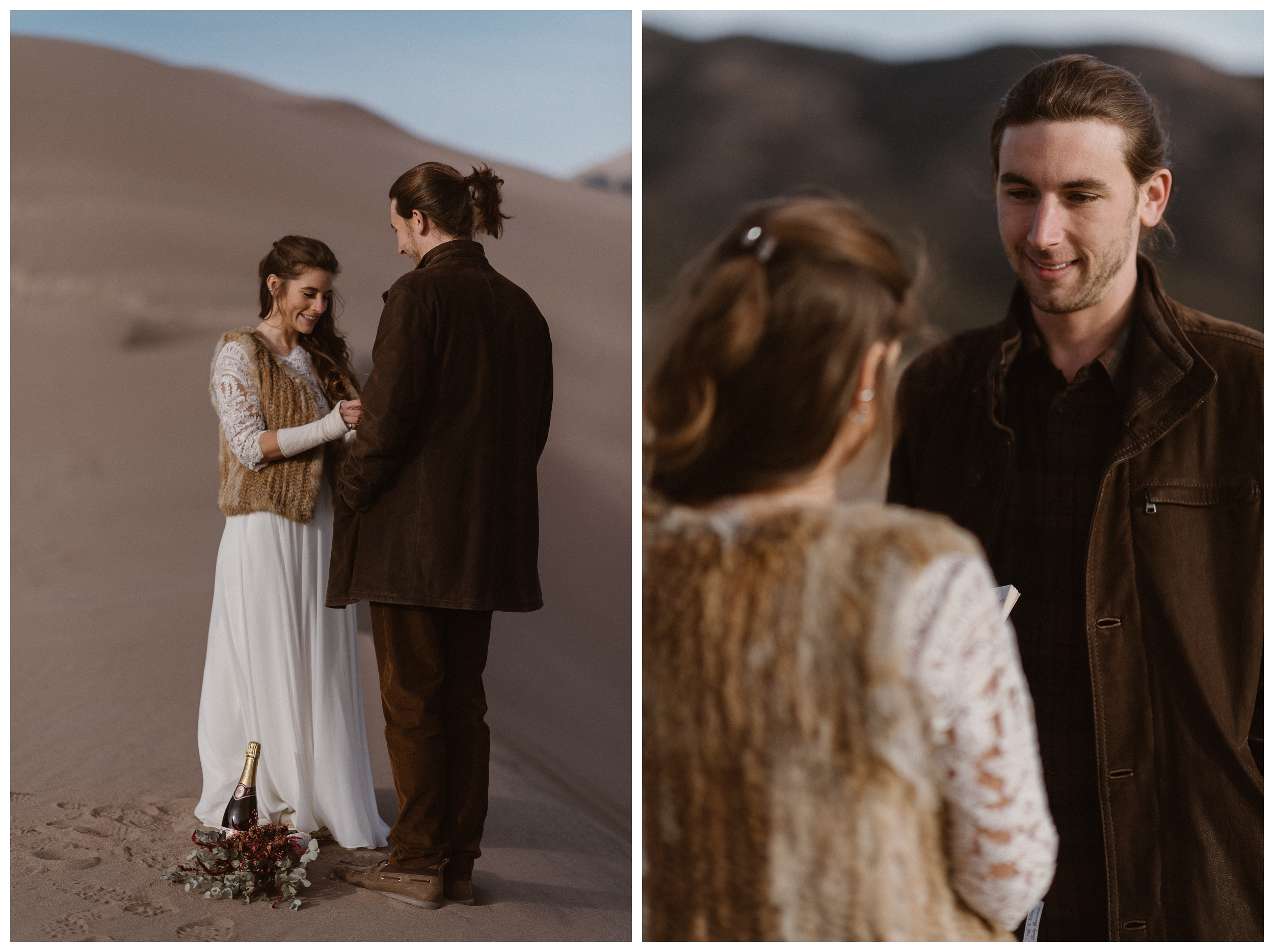 Olivia and Justin read their vows to each other during their self solemnize ceremony at Great Sand Dunes National Park. Photo by Maddie Mae Photo, Adventures Instead.