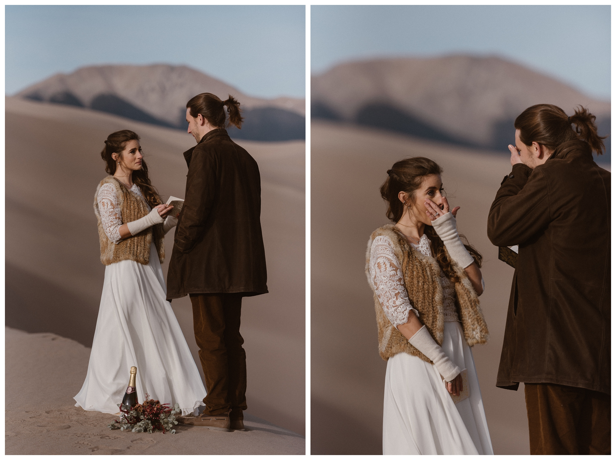 Emotions ran high during Olivia and Justin's private wedding ceremony that was just the two of them in the midst of huge sand dunes in Southern Colorado. Photo by Maddie Mae Photo, Adventures Instead.