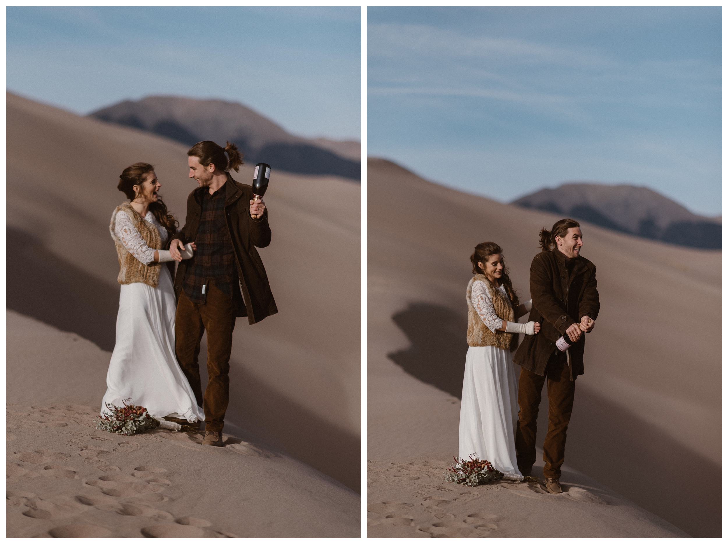 On top of the dunes at Great Sand Dunes National Park, Olivia and Justin celebrate saying their vows in an intimate ceremony by popping a bottle of champagne. Photo by Maddie Mae Photo, Adventures Instead.