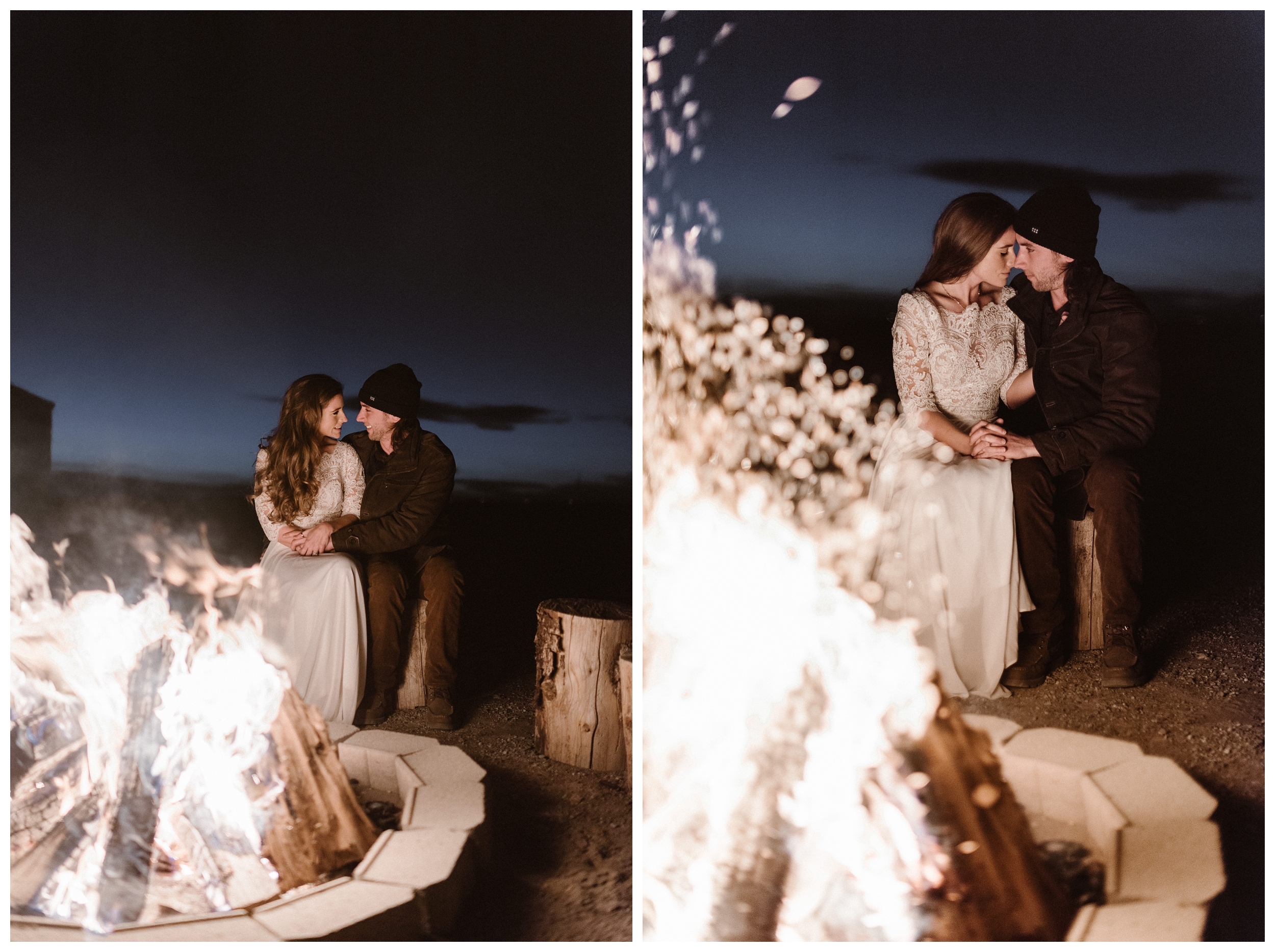 Sitting by the fire together in their winter wedding attire after their self solemnizing ceremony. Photo by Maddie Mae Photo, Adventures Instead.