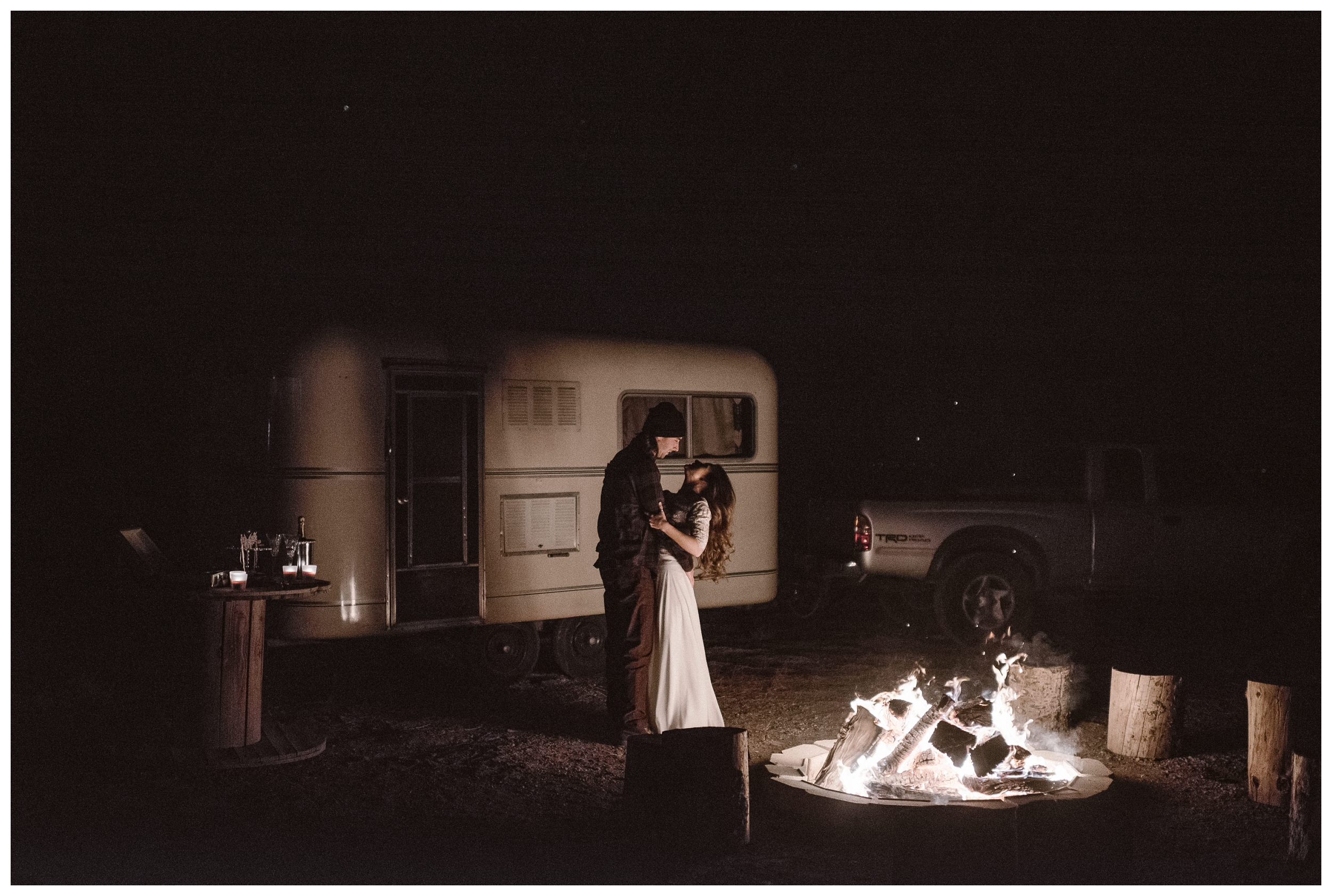 Dancing by firelight after their self solemnizing ceremony at Great Sand Dunes National Park in Southern Colorado. Photo by Maddie Mae Photo, Adventures Instead.