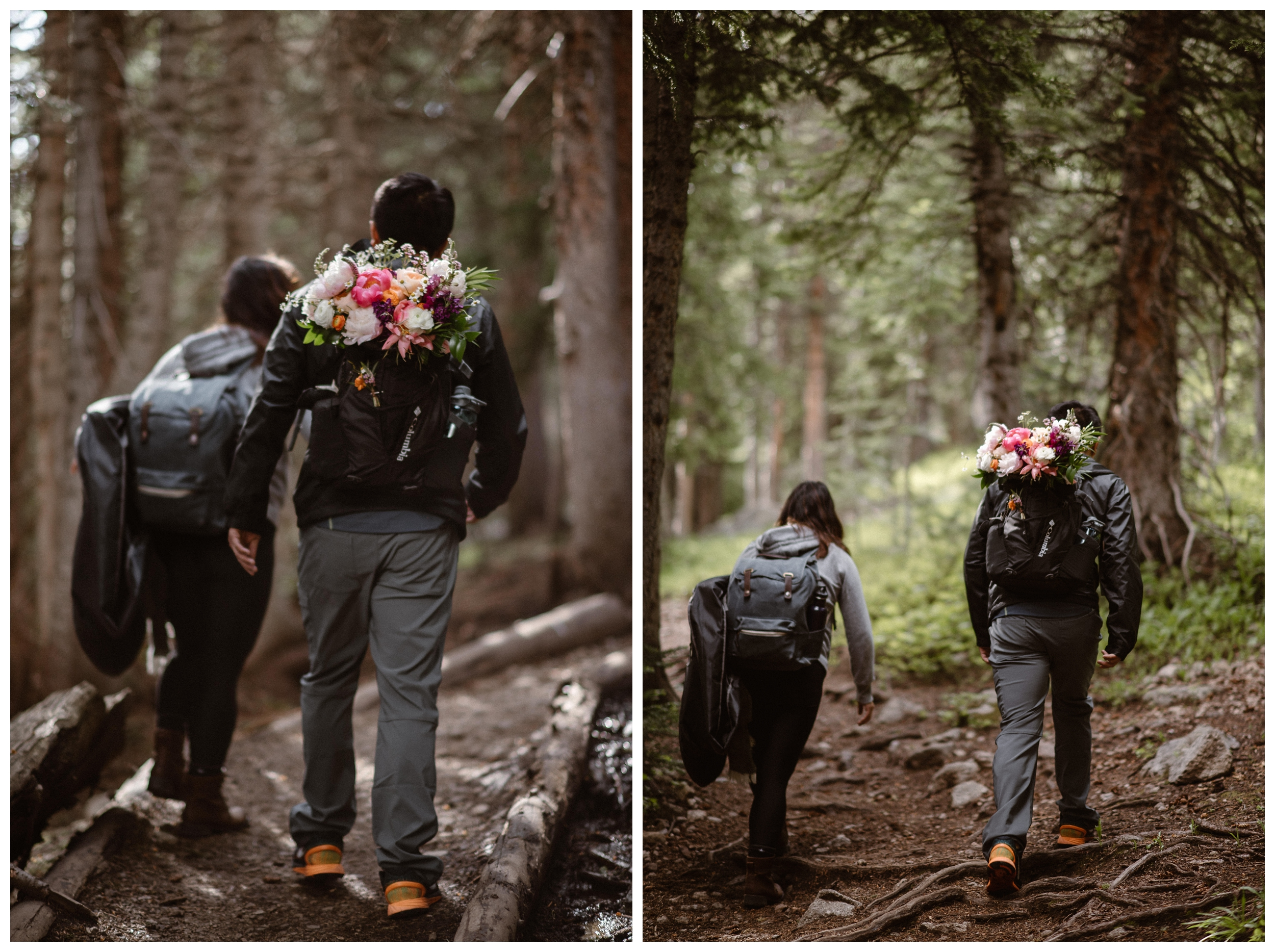 Carrying her bouquet and their wedding day attire, Leslie and Jinson hike the Rocky Mountains towards Gem Lake for their adventure elopement. Photo by Maddie Mae Photo, Adventure Instead.
