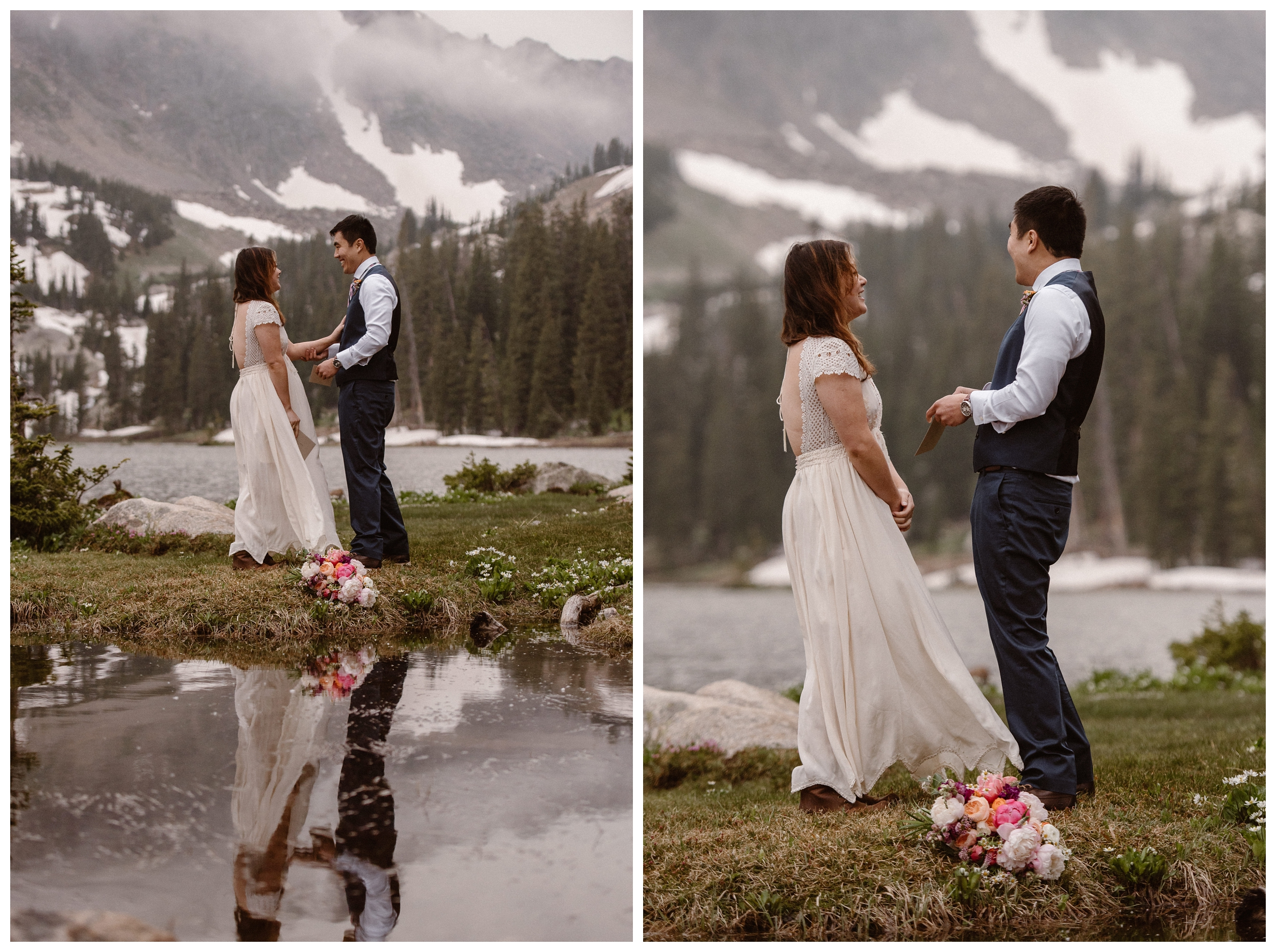 Leslie and Jinson exchange vows on the shores of Gem Lake as clouds roll around the mountains behind them. Photo by Maddie Mae Photo, Adventure Instead.