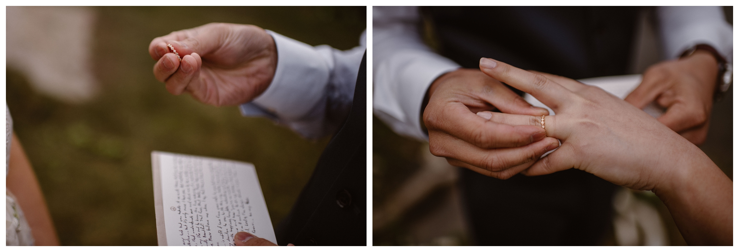 Leslie and Jinson exchanged rings in their self solemnizing ceremony in the Rocky Mountains outside Estes Park, Colorado. Photo by Maddie Mae Photo, Adventure Instead.