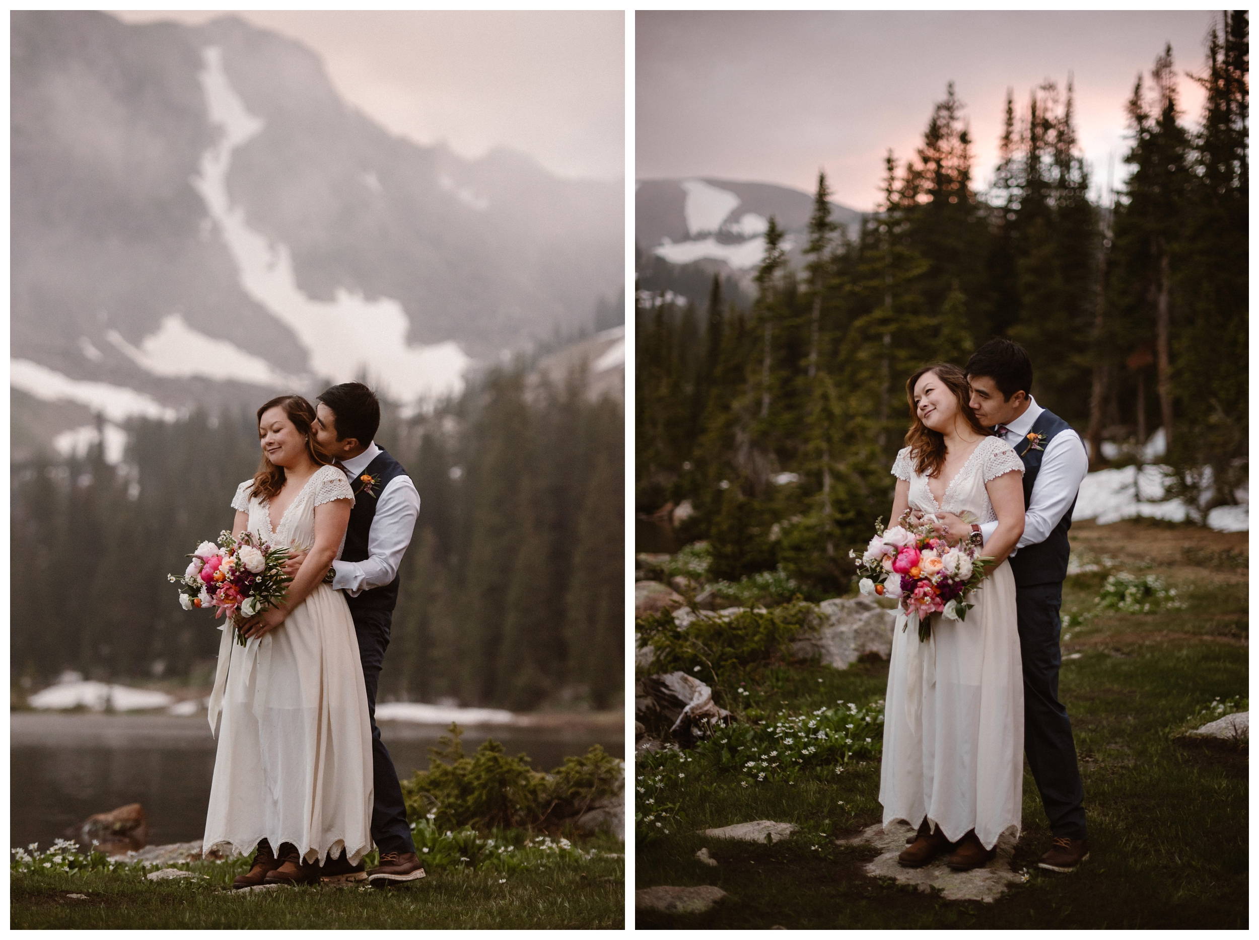 Newlywed couple Jinson and Leslie embrace on the shores of Gem Lake, a high alpine lake outside Estes Park Colorado, after their private hiking elopement ceremony. Photo by Maddie Mae Photo, Adventure Instead.