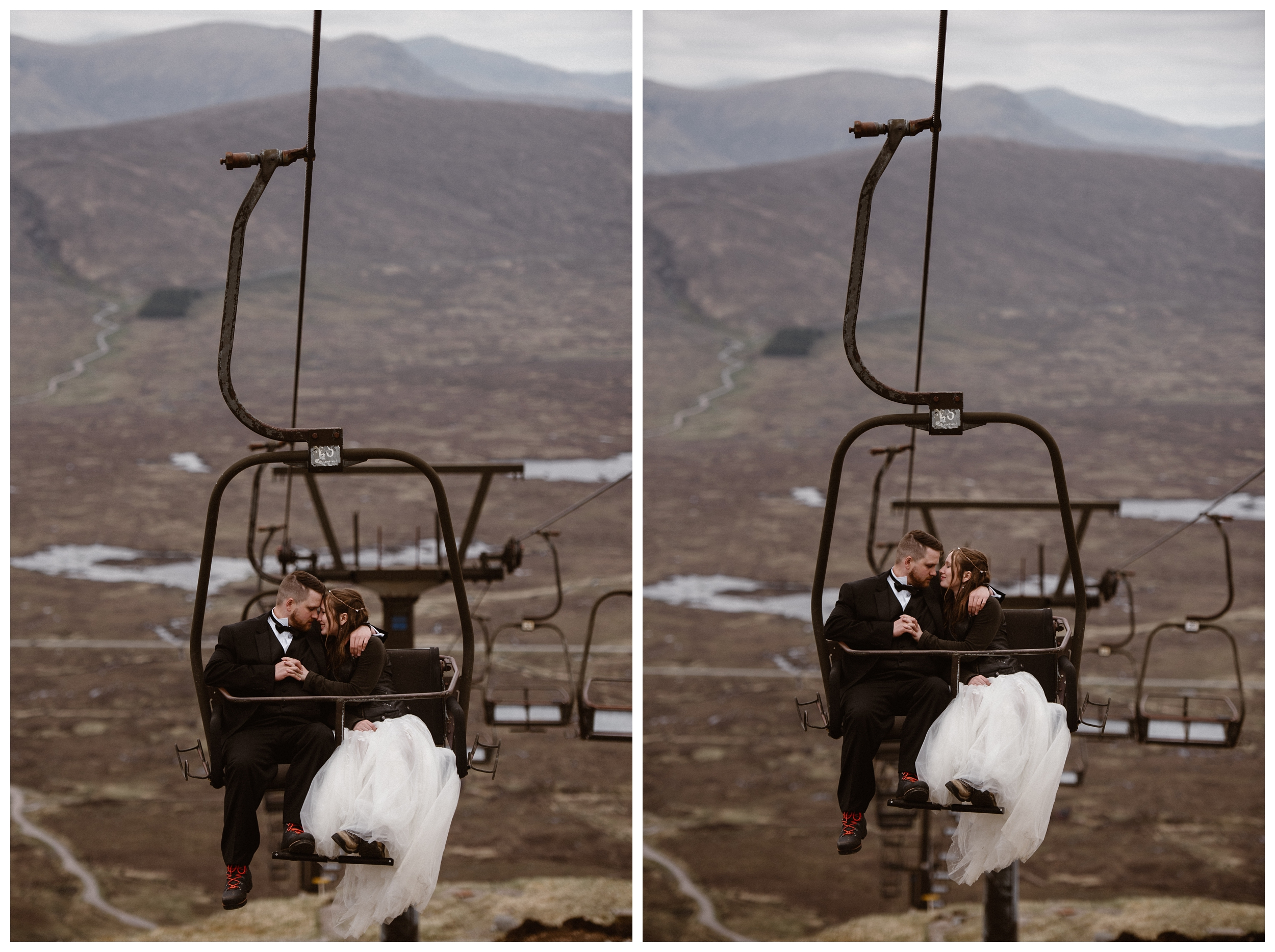 Cuddling together to stay warm in the chill of early May in Scotland, Elissa and Daniel ride a gondola up a mountain outside Glencoe and Ben Nevis before their destination elopement. Photo by Maddie Mae, Adventure Instead.