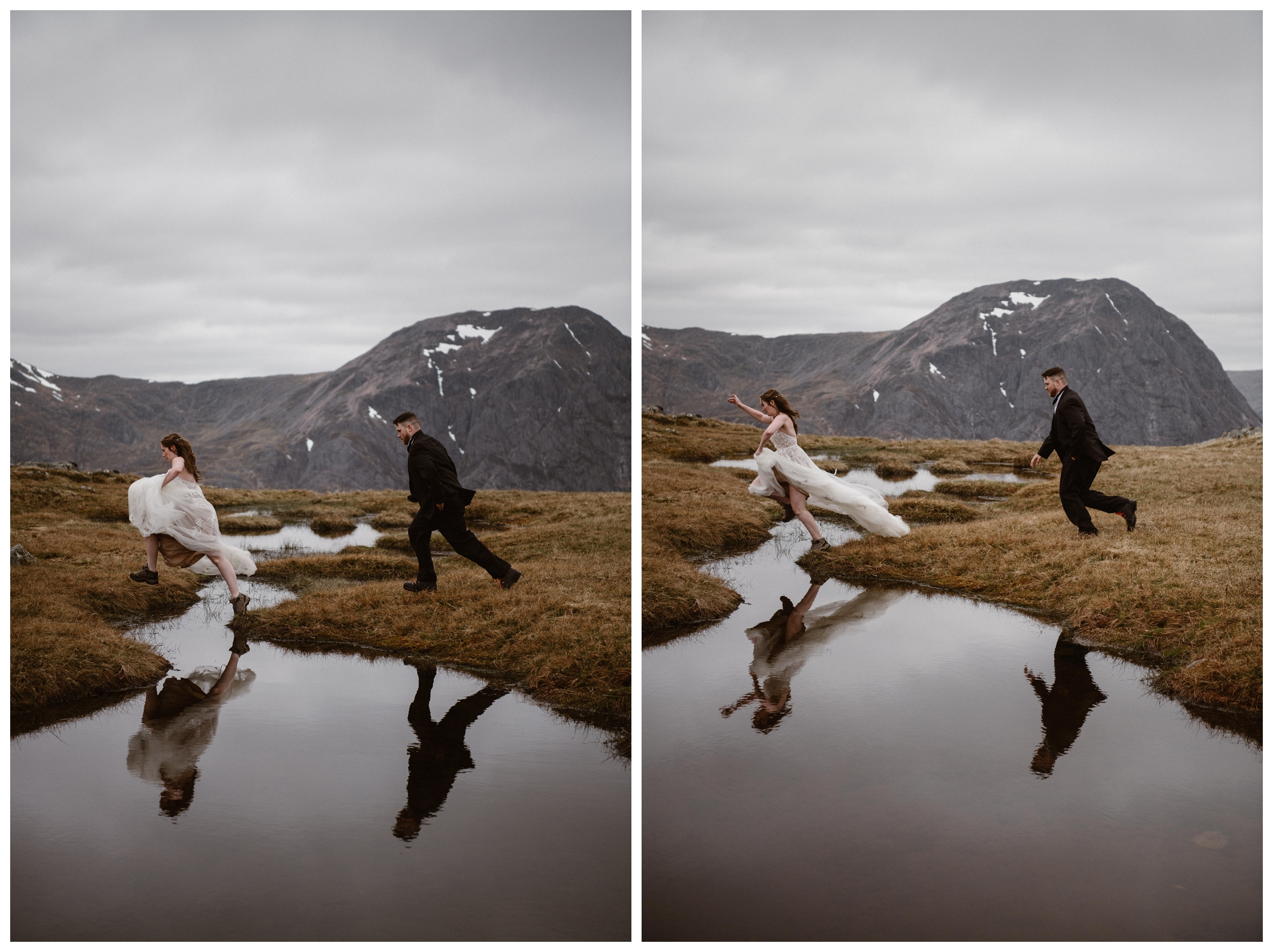 Elissa did a great job of jumping over the water of the Scottish Highland marshes and bogs in her wedding dress during her destination elopement with Daniel. Photo by Maddie Mae, Adventure Instead.