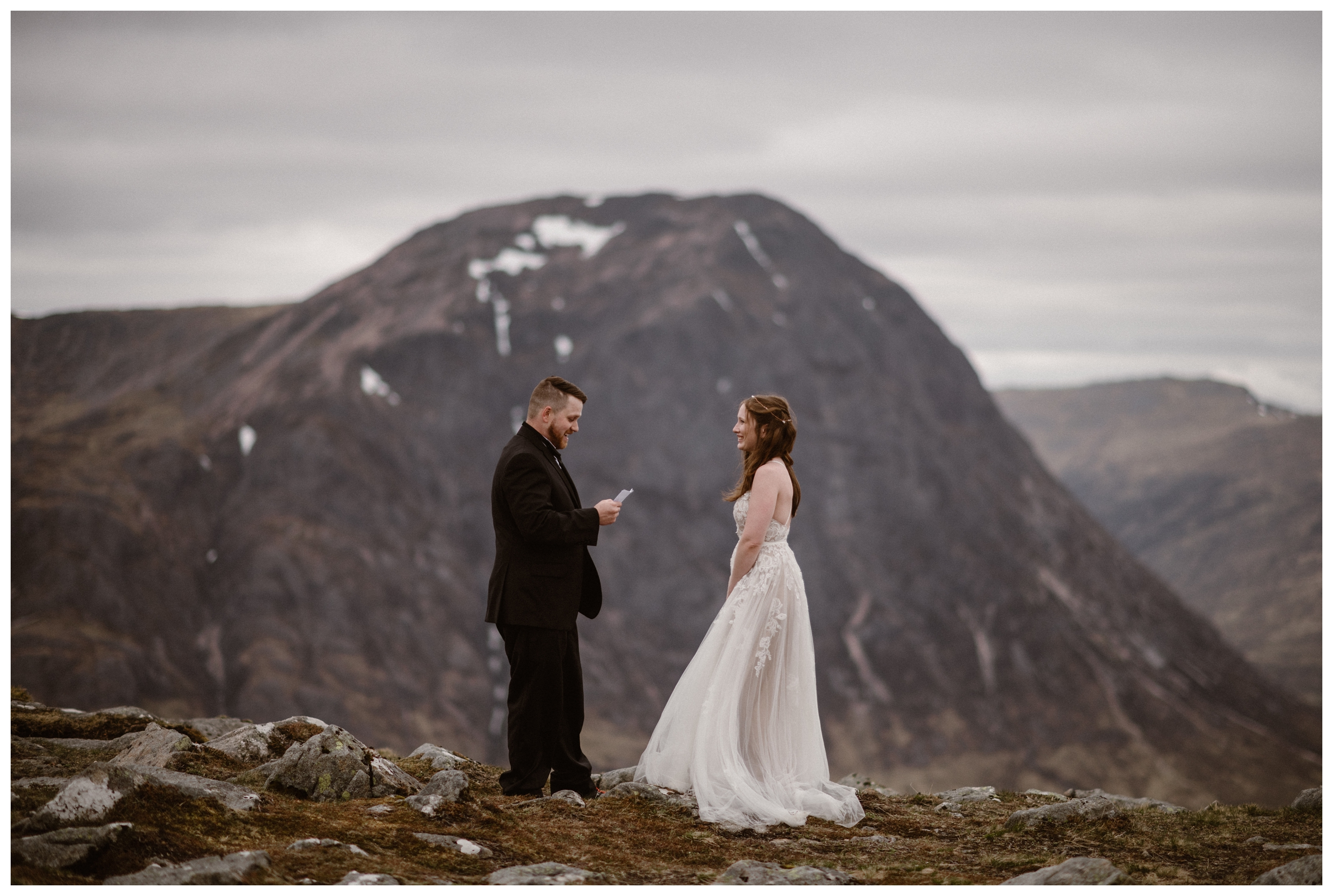 Elissa and Daniel chose a secluded, private spot to say their vows during their Scottish Highland elopement outside Glencoe, Scotland. Photo by Maddie Mae, Adventure Instead.