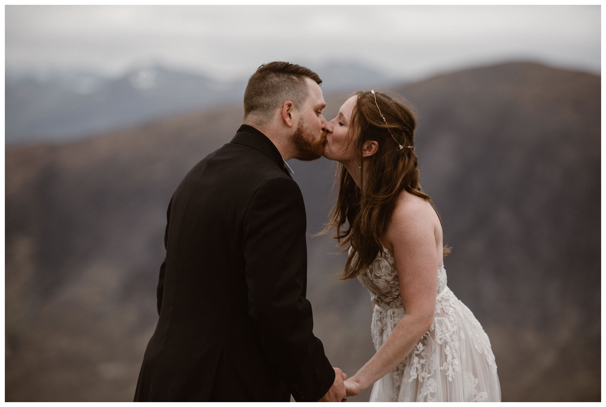 Elissa and Daniel share a kiss during their Scottish Highlands elopement ceremony. When you self solemnize for your wedding ceremony, you don't need to follow traditional marriage ceremony rules. Photo by Maddie Mae, Adventure Instead.
