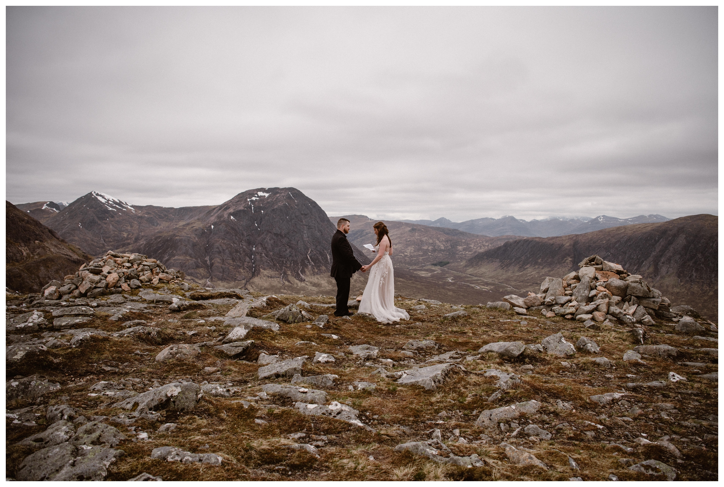 Surrounded by hills, marshes, bogs, and lochs, Elissa and Daniel say their vows high in the hills of the Scottish Highlands for their destination wedding elopement. Photo by Maddie Mae, Adventure Instead.