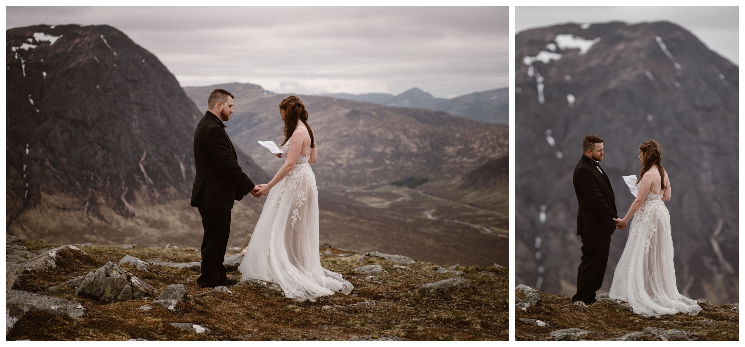 Elissa and Daniel say their vows high on a mountain top with a view of the Scottish Highlands during their destination adventure elopement. Photo by Maddie Mae, Adventure Instead.