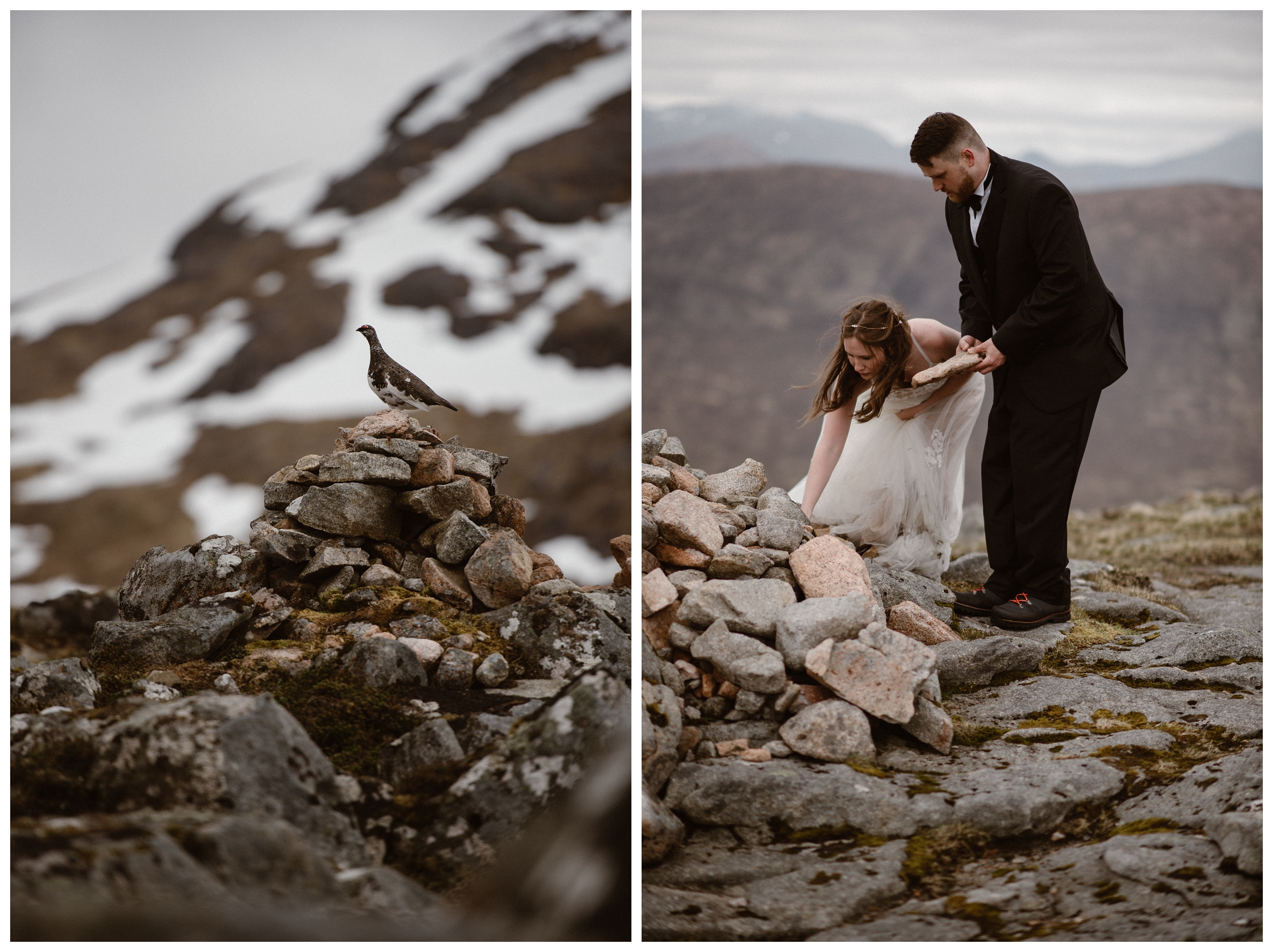 Only a ptarmigan was a witness to Elissa and Daniel's marriage vows. After their ceremony in the Scottish Highlands, outside Glencoe, they added their own stones to a cairn. Photo by Maddie Mae, Adventure Instead.
