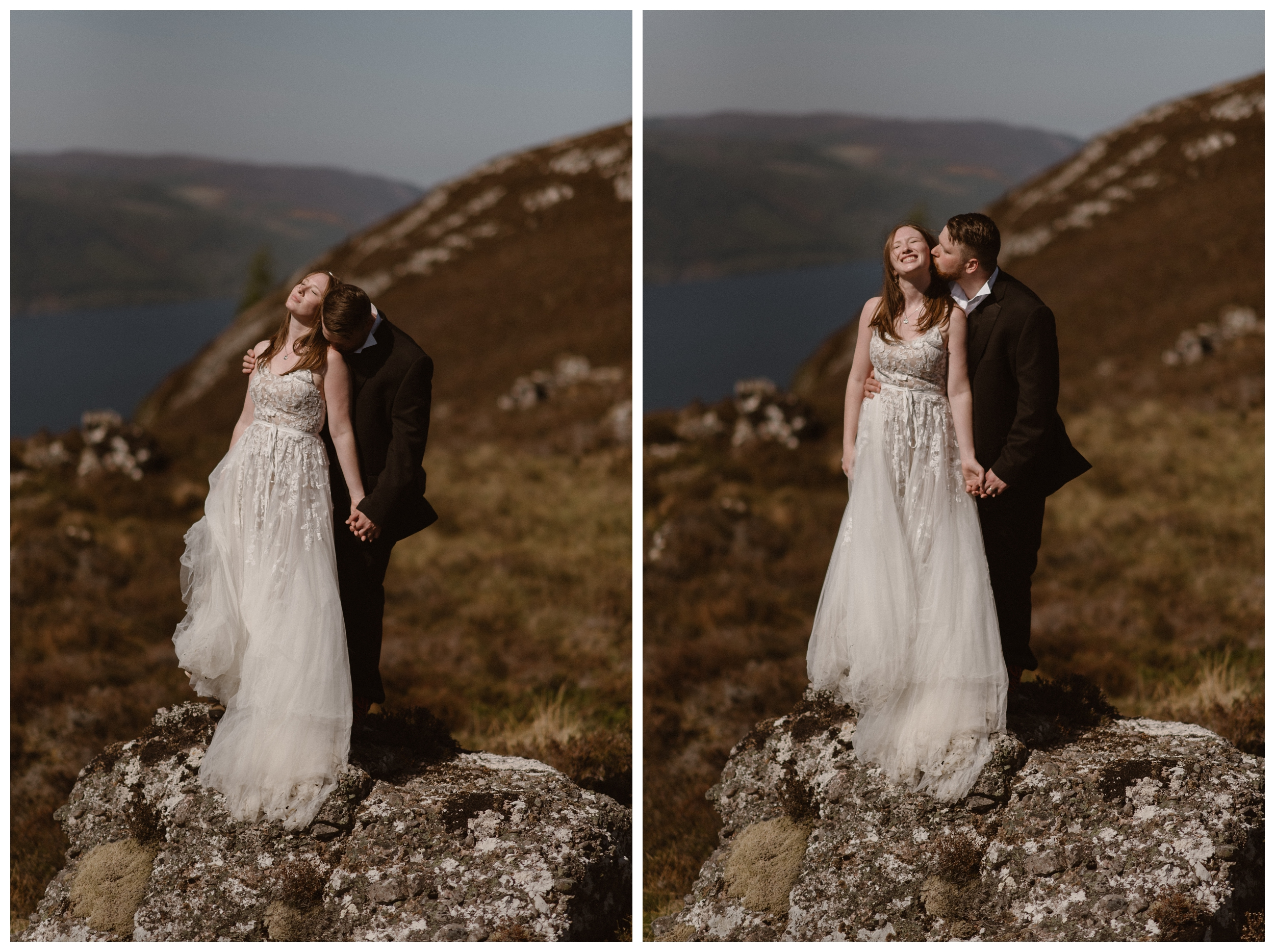 Elissa trekked all over the Scottish Highlands in her long tulle wedding gown for her destination elopement ceremony with Daniel. Photo by Maddie Mae, Adventure Instead.