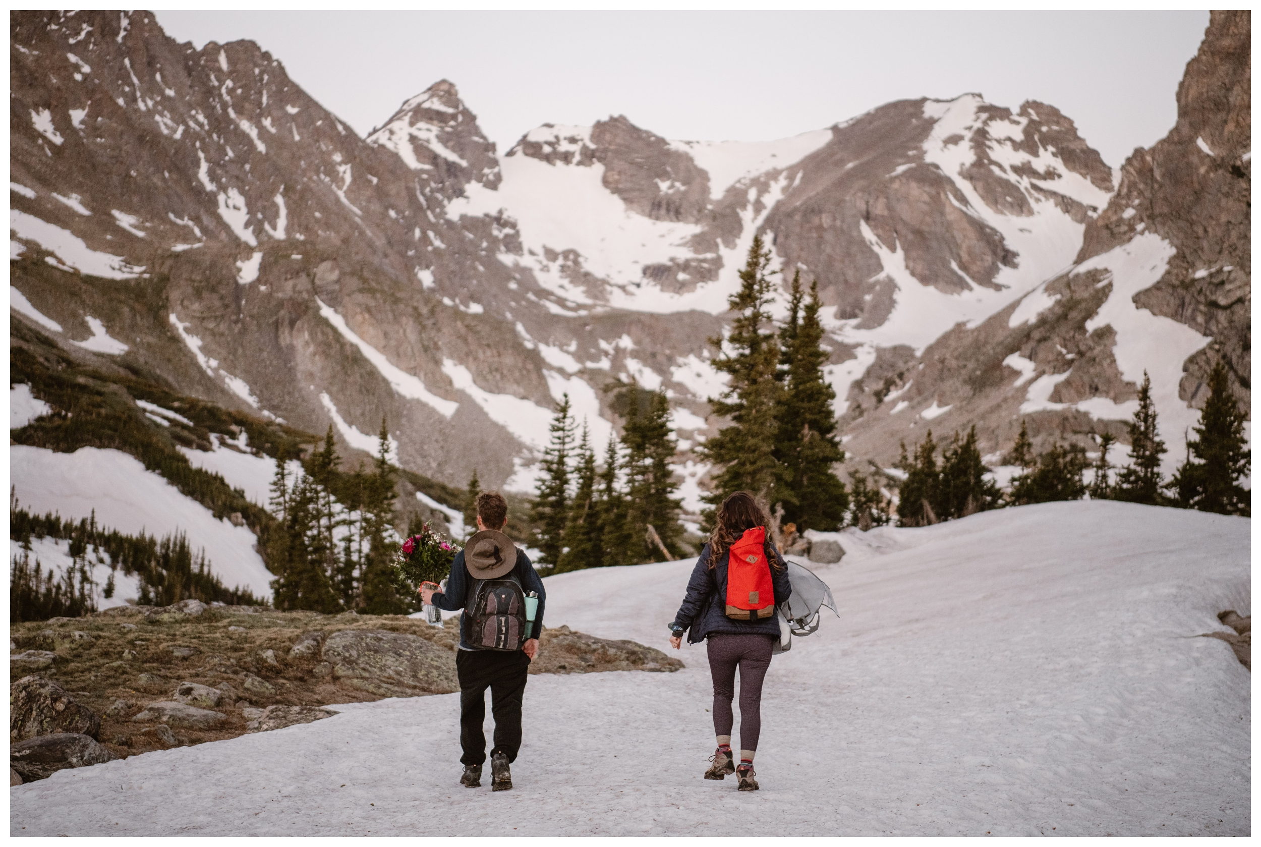 Massive snow fields and snow drifts met us at the top of Lake Isabelle in Nederland, Colorado, outside Boulder Photo by Adventure Instead, Maddie Mae.