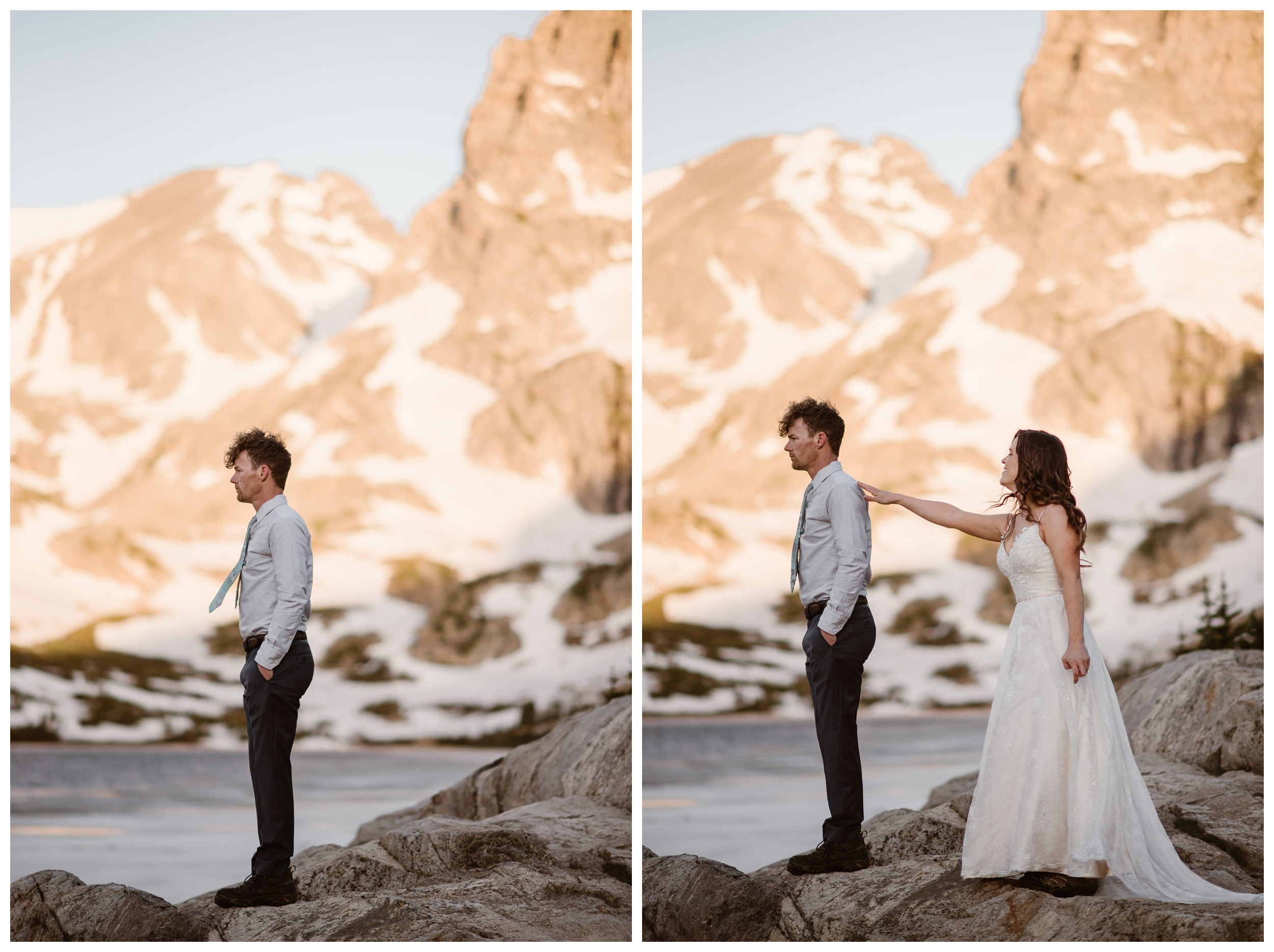 Karen and Matt chose to do their first look for their adventure elopement ceremony with the mountains above Lake Isabelle in Nederland, Colorado behind them, glowing pink with alpenglow. Photo by Adventure Instead, Maddie Mae.
