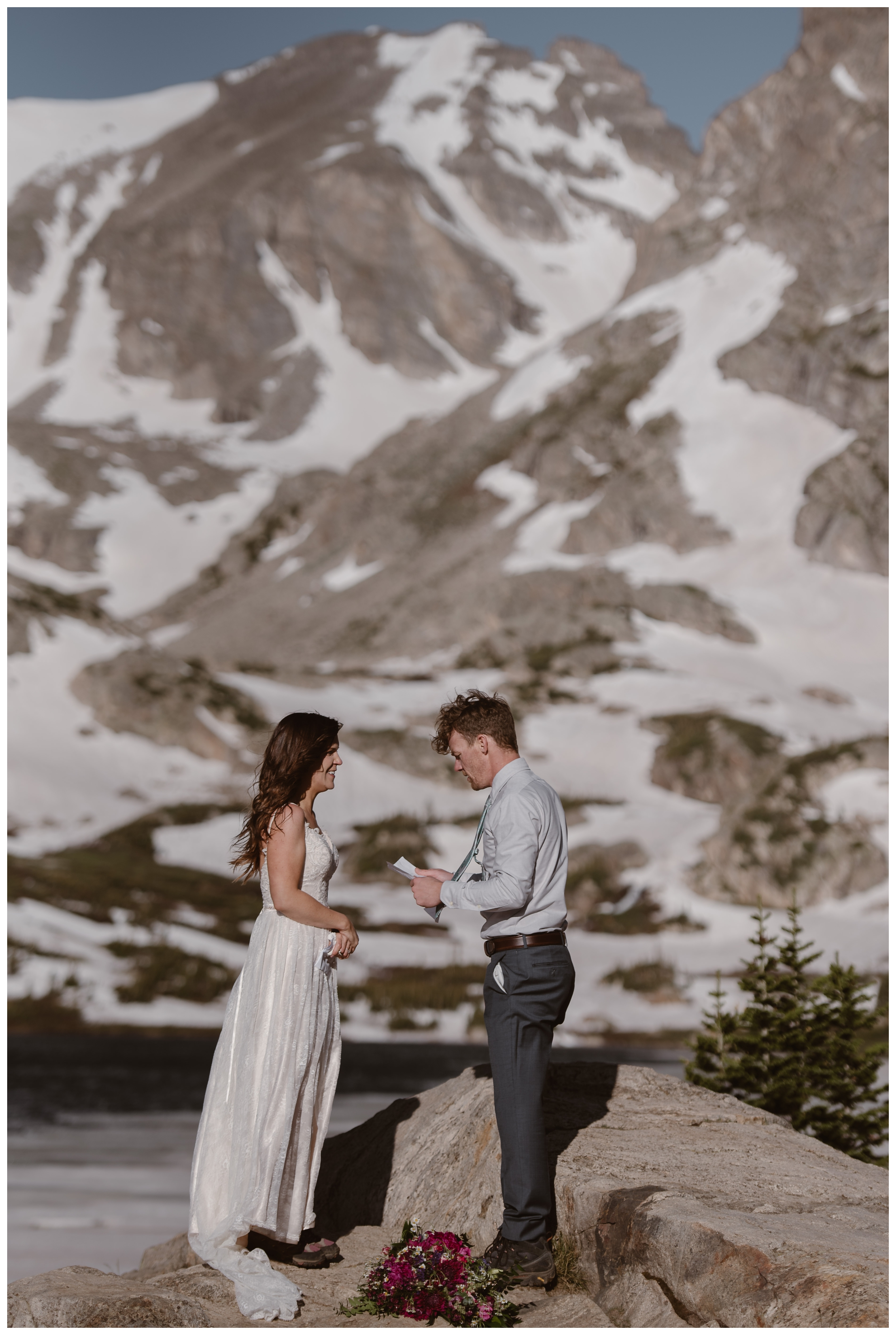 Karen and Matt chose Lake Isabelle, a high alpine lake outside Nederland, Colorado as their back up adventure elopement location after Rocky Mountain National Park changed their elopement rules. Photo by Adventure Instead, Maddie Mae.