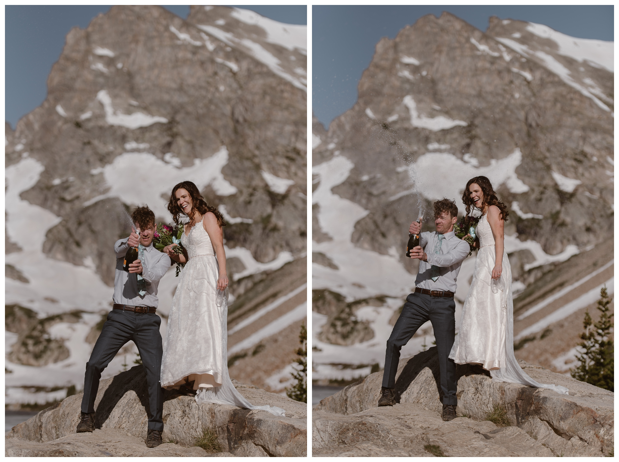 Karen and Matt celebrate their high alpine lake hiking adventure elopement ceremony at the top of Lake Isabelle outside Nederland Colorado by spraying a bottle of champagne. Photo by Adventure Instead, Maddie Mae.