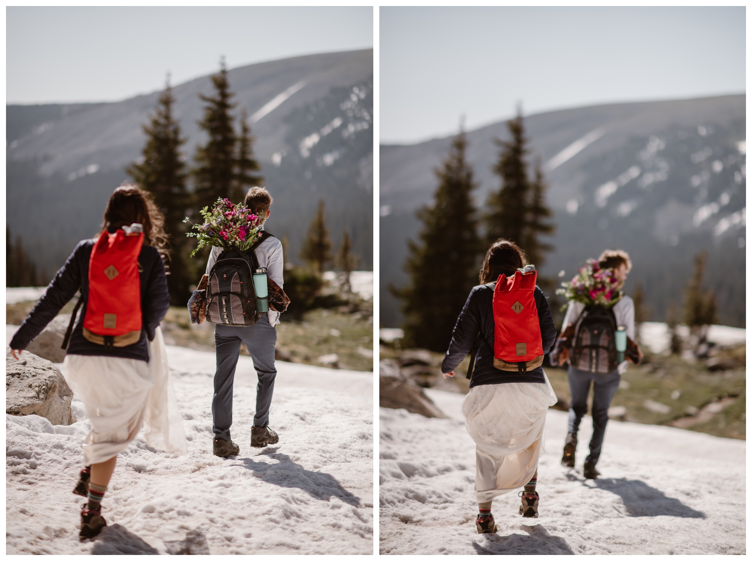 Carrying everything they need for their elopement wedding ceremony on their backs, Karen and Matt begin the hike back down from Lake Isabelle. Photo by Adventure Instead, Maddie Mae.