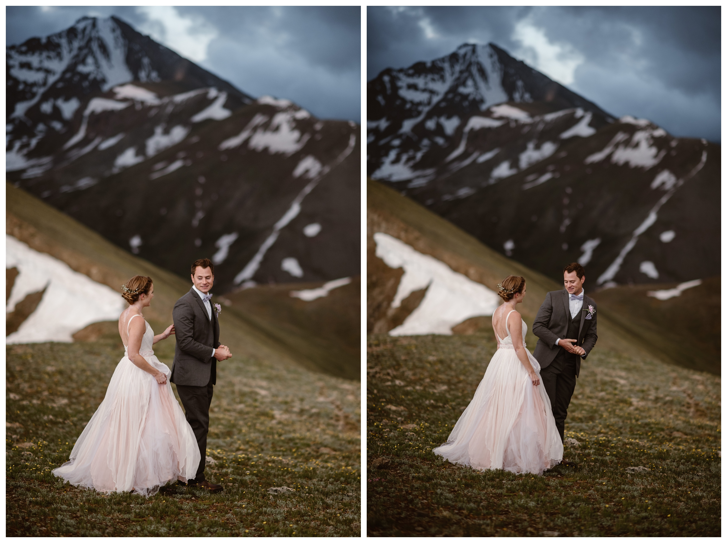 Vasily sees his fiance Marcela for the first time before their intimate two person self solemnizing elopement on the top of Independence Pass, outside Aspen, Colorado. Photo by Maddie Mae, Adventure Instead.