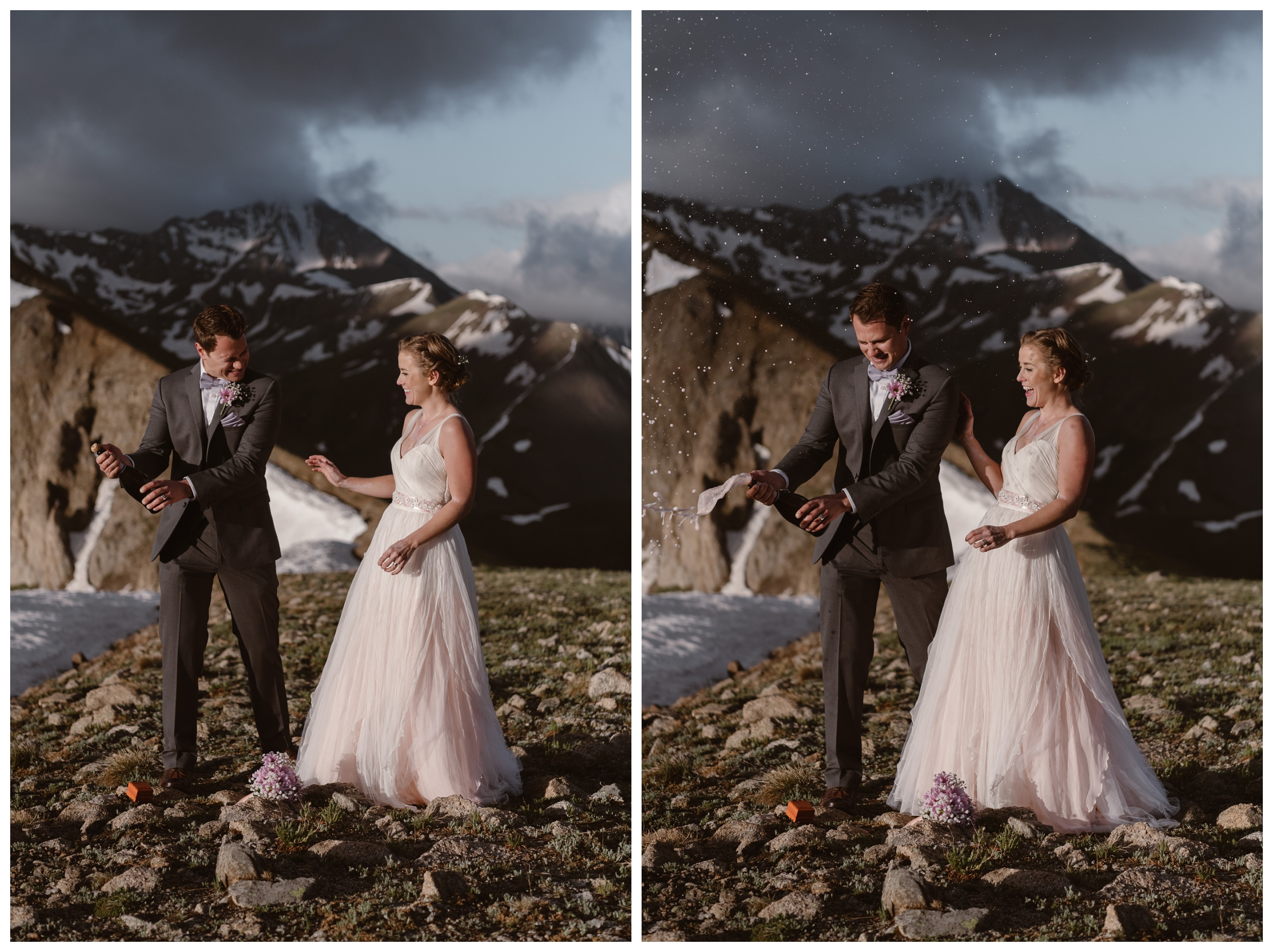 To celebrate following their intimate self solemnizing adventure elopement ceremony, Marcela and Vasily pop open a bottle of champagne on the top of Independence Pass, outside Aspen, Colorado. Photo by Maddie Mae, Adventure Instead.