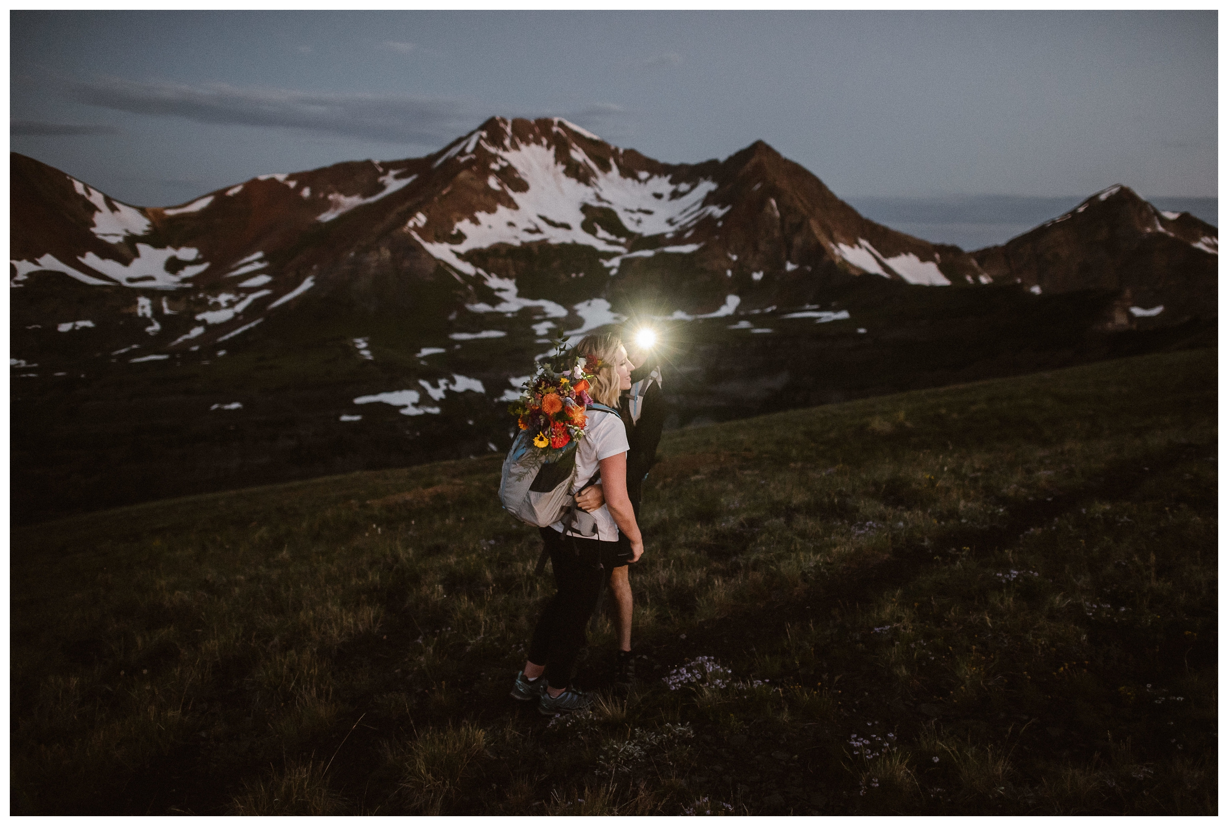 The benefits of eloping at sunrise include a more secluded experience, better weather, a safer hike, and better light. Photo by Maddie Mae Photo, Adventure Instead.