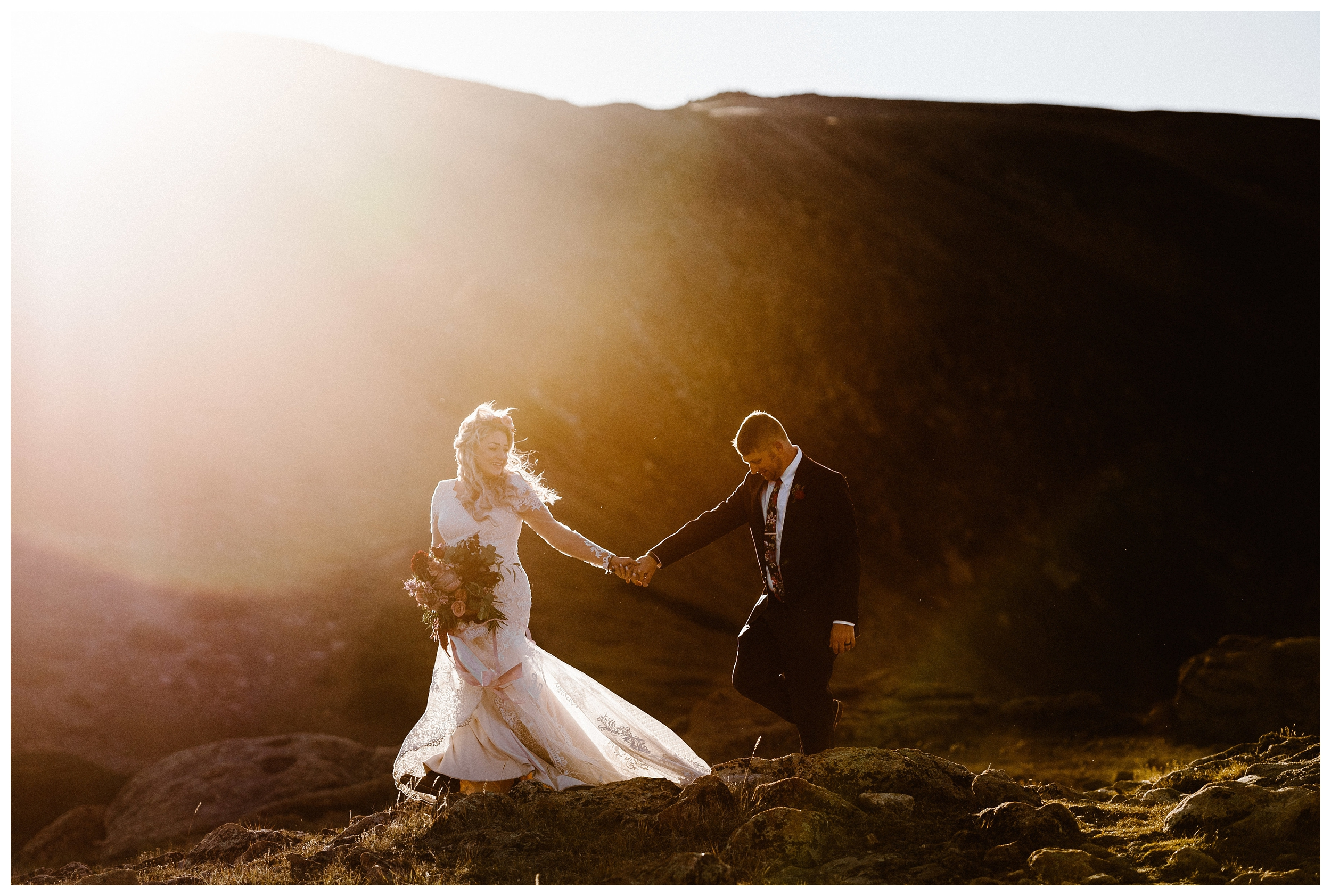 It takes everyone time to get used to a camera being pointed at your face. If you elope at sunset, the most beautiful dreamy light you'll have the whole time will happen towards the end of your experience so you'll be completely comfortable with us taking your photos. Photo by Maddie Mae Photo, Adventure Instead.