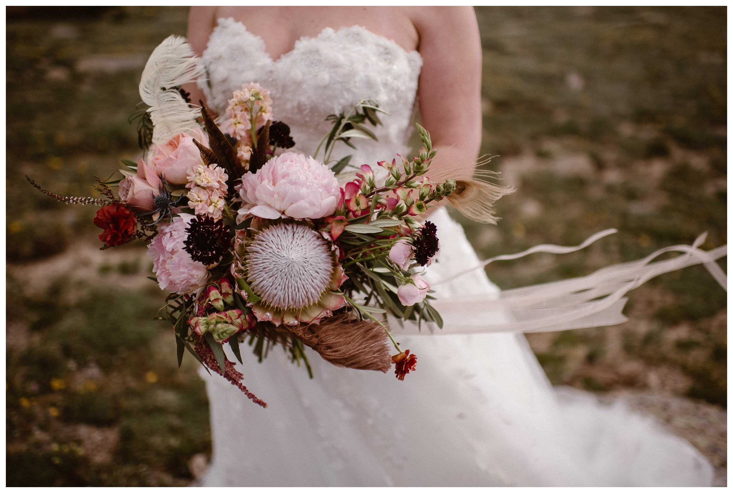 Bridal bouquet for an intimate elopement ceremony at Rocky Mountain National Park. Photo by Adventure Instead, Maddie Mae.