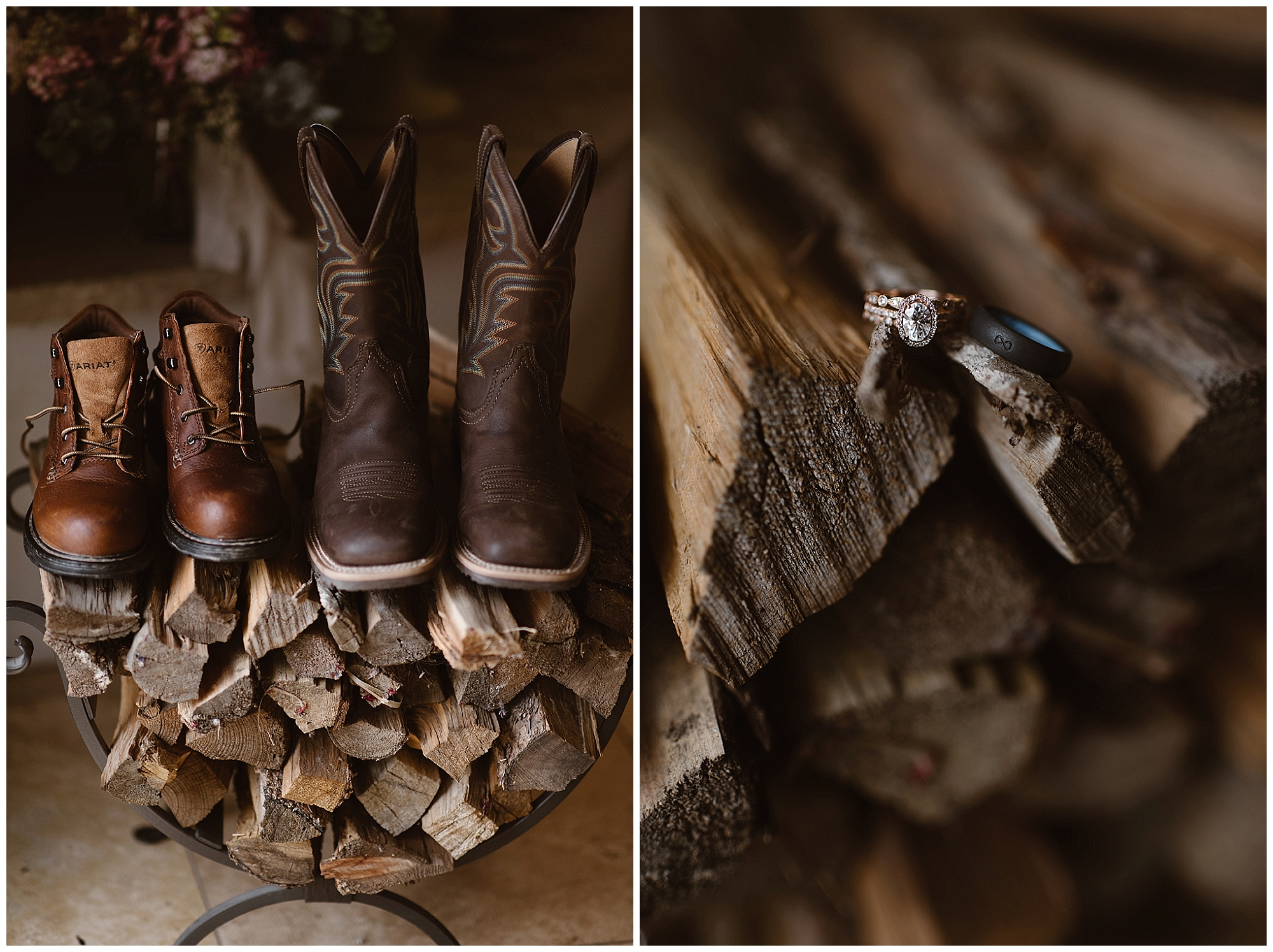Great boots were essential for Marlayna and Austin's winter elopement ceremony at Sapphire Point in Dillon, Colorado. Photo by Adventure Instead, Maddie Mae Elopement Photographers.