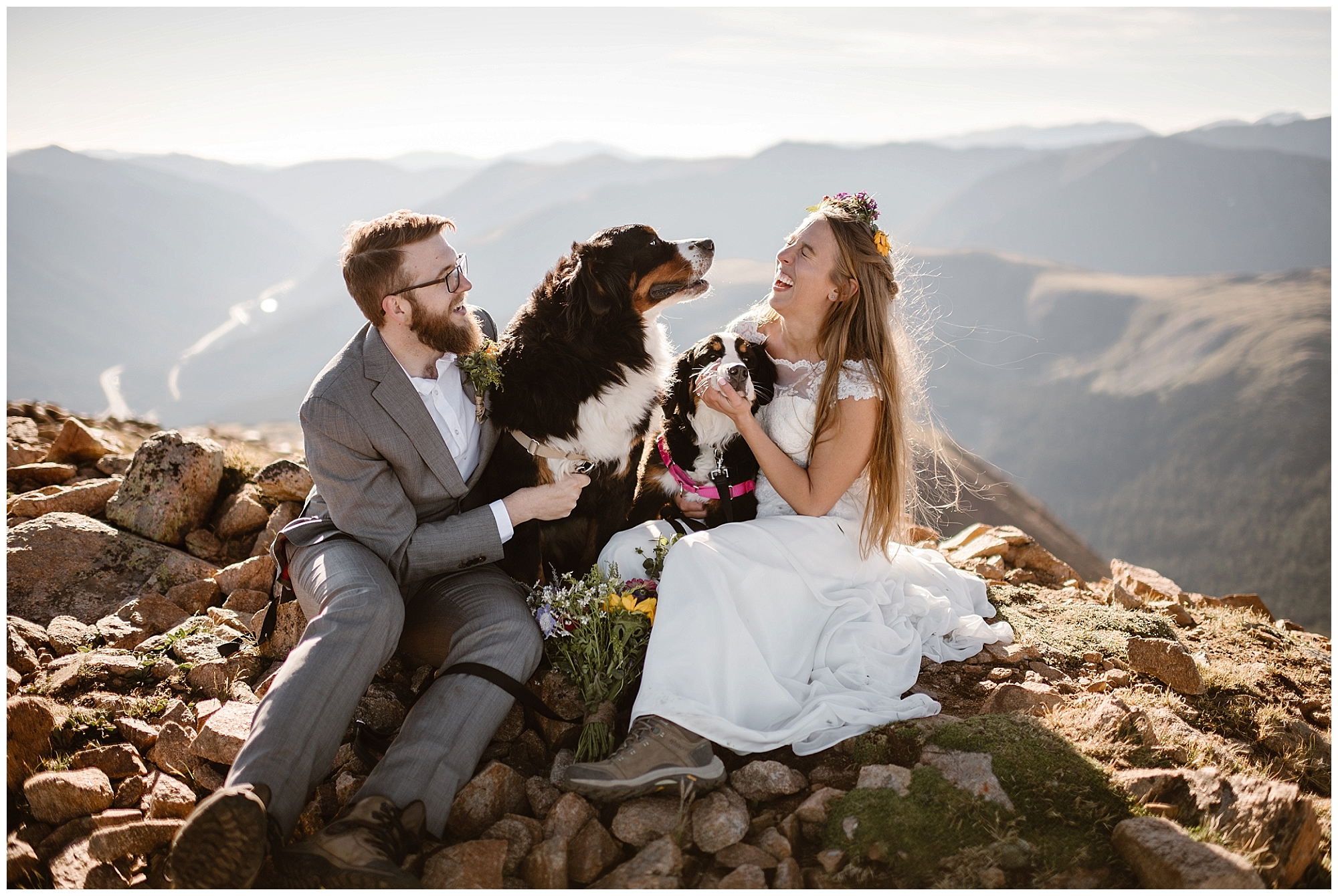 Bring your dogs with you during your elopement day! Make sure your location allows animals and you have a plan for where they'll be during the day but they're an important part of your life and should be included! Where you elope and how you say your vows matters! Photo by Maddie Mae, Adventure Instead Elopement Photographers.