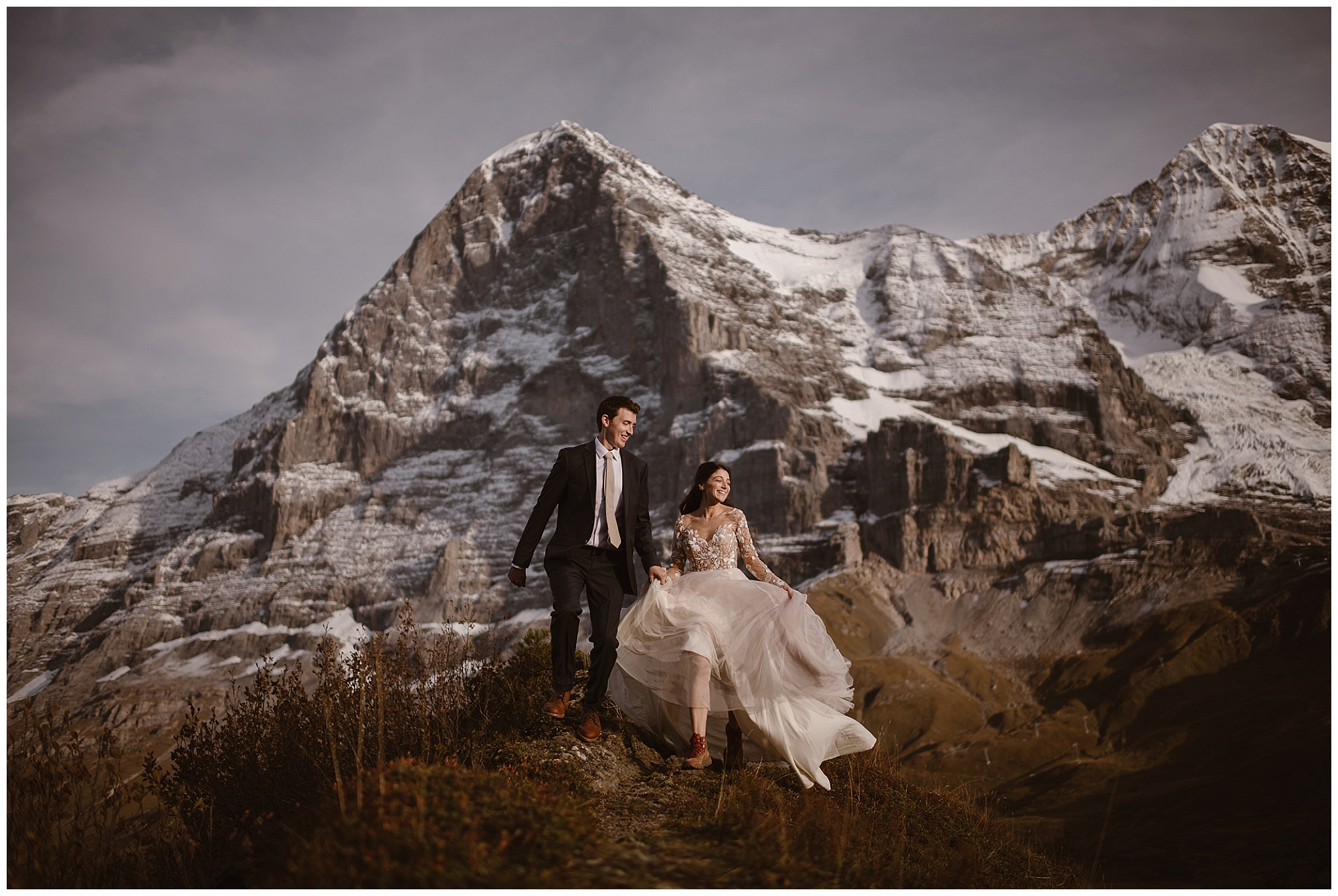 Elope on your terms! Choose the location that fits your relationship, whether it's eloping on a Swiss mountaintop or in the desert. Photo by Maddie Mae, Adventure Instead Elopement Photographers.