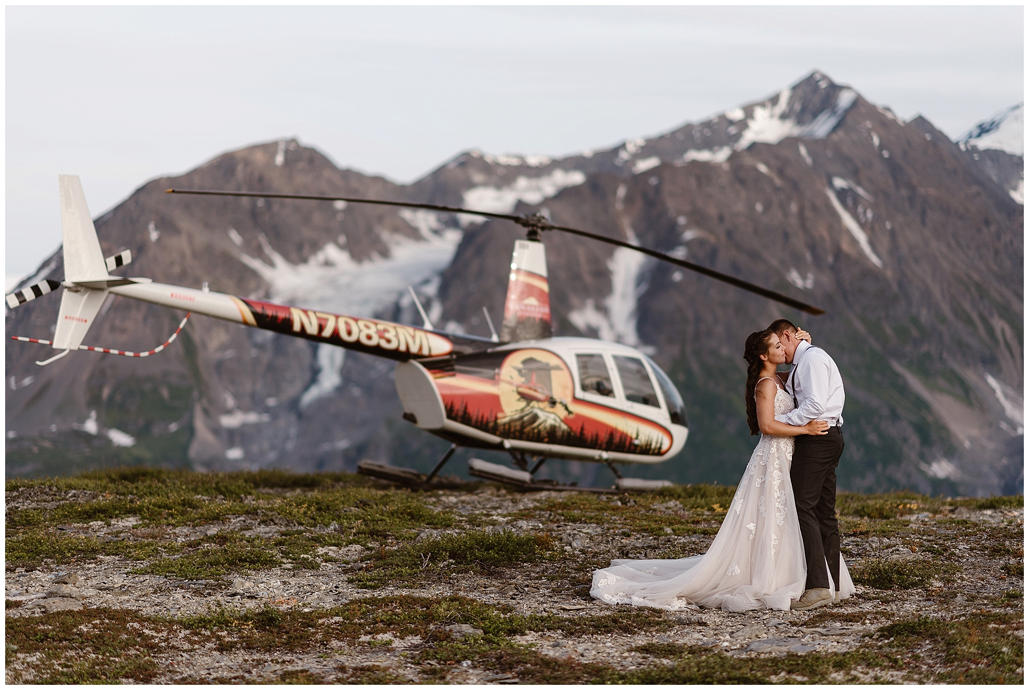 What kind of vehicle will you need during your elopement day? Maybe a 4x4 vehicle? Or even a private helicopter, like this couple who eloped in Alaska? Where you elope and how you say your vows matters! Photo by Maddie Mae, Adventure Instead Elopement Photographers.