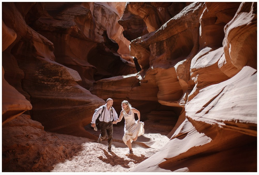 Running through Antelope Canyon on your wedding day is great. Where you elope and how you say your vows matters! Photo by Maddie Mae, Adventure Instead Elopement Photographers.