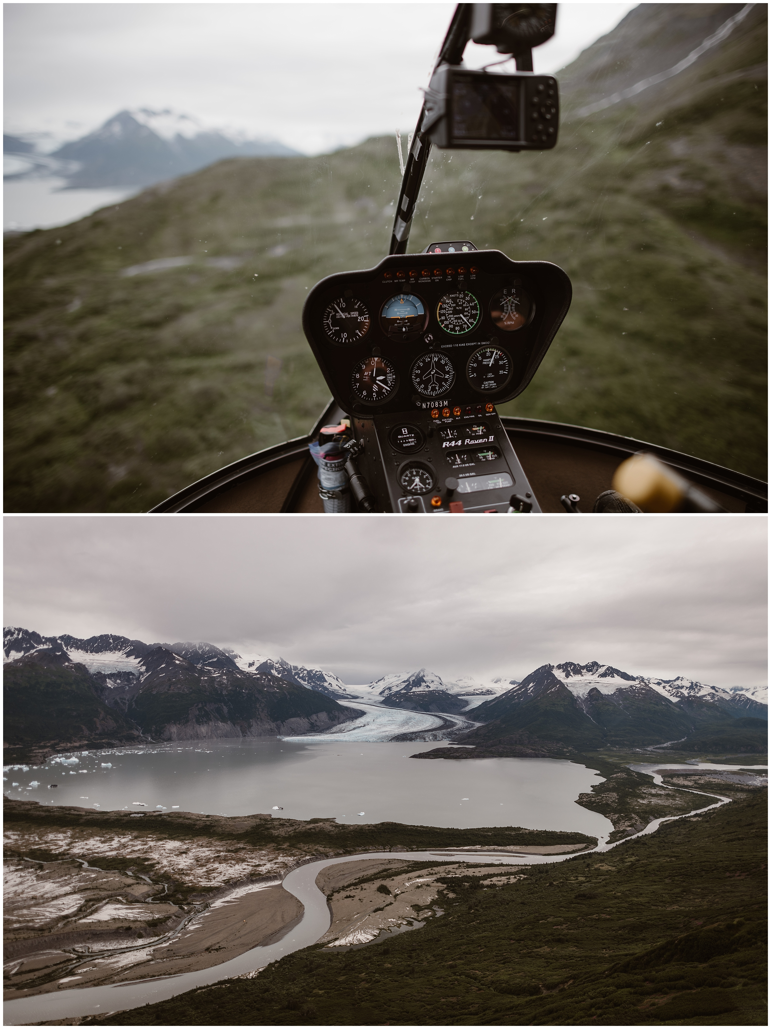 In these two collaged elopement photos, the beauty of Alaska is shown. In the top photo, you peer through the front window of the helicopter as it flies above green hills and toward a snowy mountain peak. In the bottom photo, taken by Alaskan wedding photographer Adventure Instead, a birds-eye-view of a glacial lake is shown with a few snow-capped mountains in the background.