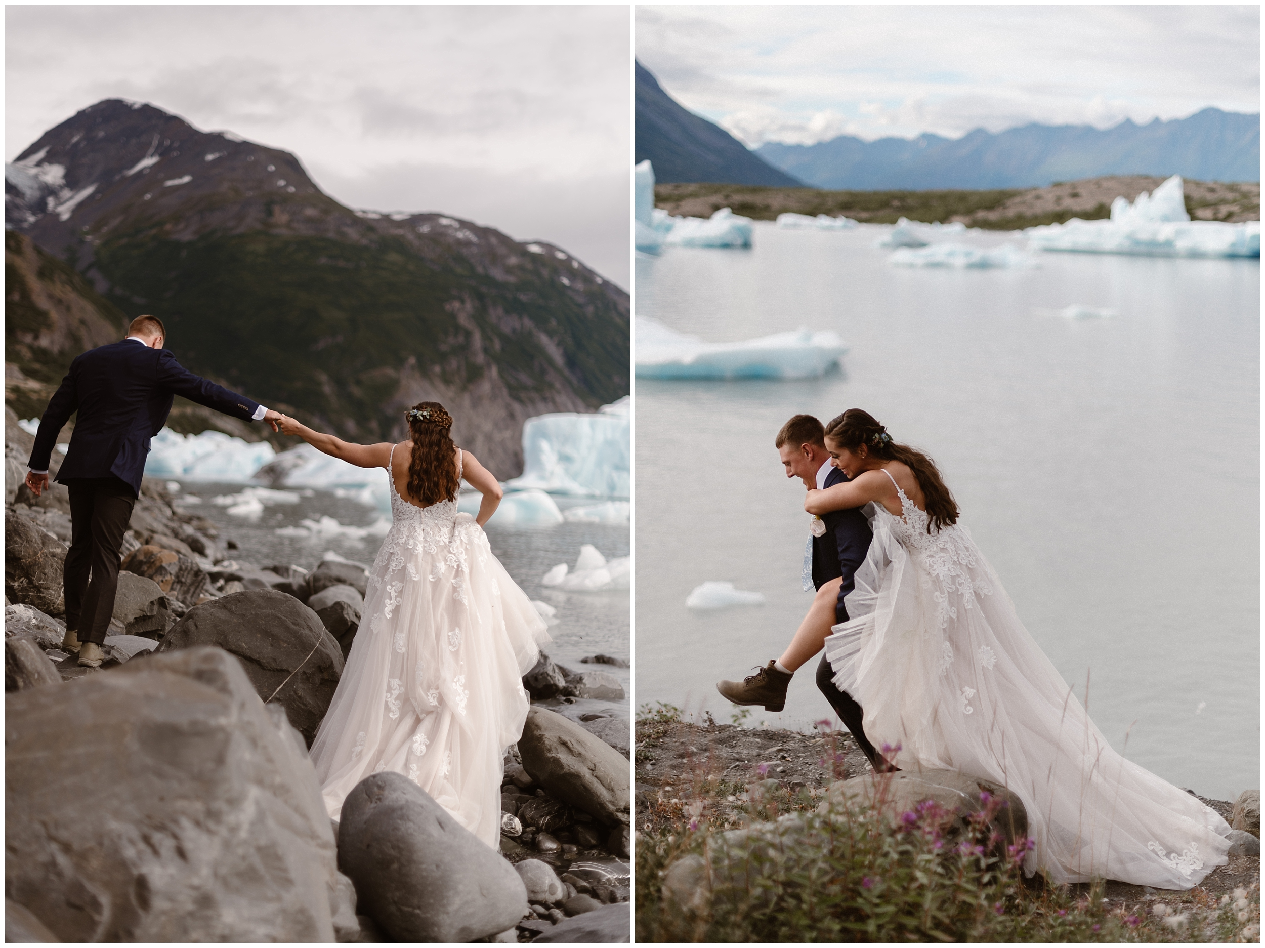 In this split image, Jordyn and Connor, the bride and groom, adventure near the glacial lake. In the photo on the left, Connor steps up to rock higher than Jordyn, but continues to hold her hand as she follows along at a lower level. In the picture on the right, Jordyn climbs onto Connor's back and they explore the rocky beach. Her wedding dress trails behind them and her hiking boots stick out.