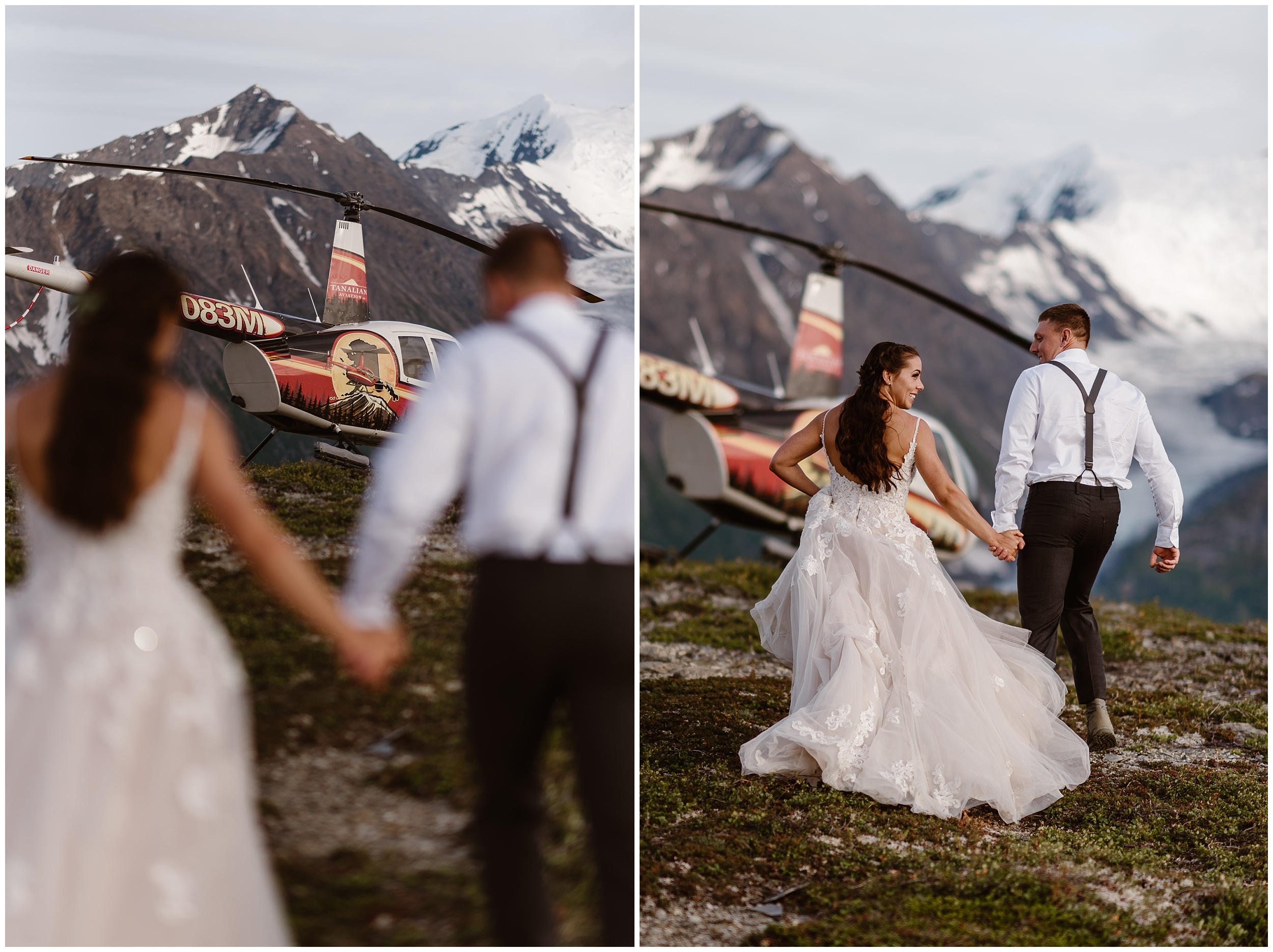 In these side-by-side elopement pictures, Jordyn and Connor, the bride and groom, take hands and walk toward the helicopter that will take them to their next destination elopement location. In the photo on the left, the helicopter is in focus beyond the blurred figures of Jordyn and Connor. In the photo on the right, Jordyn and Connor, still holding hands, are in focus as they walk closer to the helicopter.