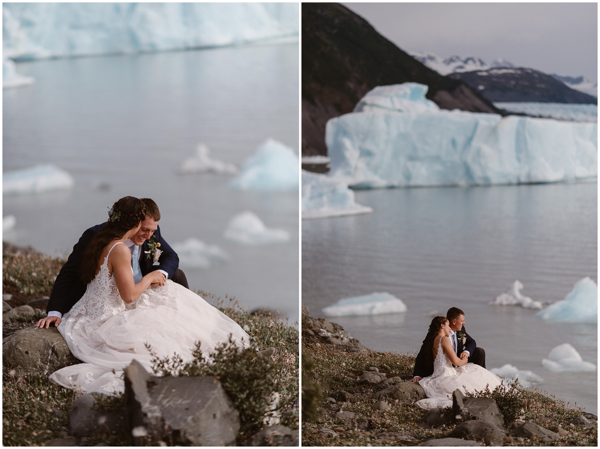 These side-by-side image show Jordyn and Connor snuggled up by a glacial lake filled with chunks of ice. These are features the bride and groom wanted to see on their Alaska helicopter elopement.