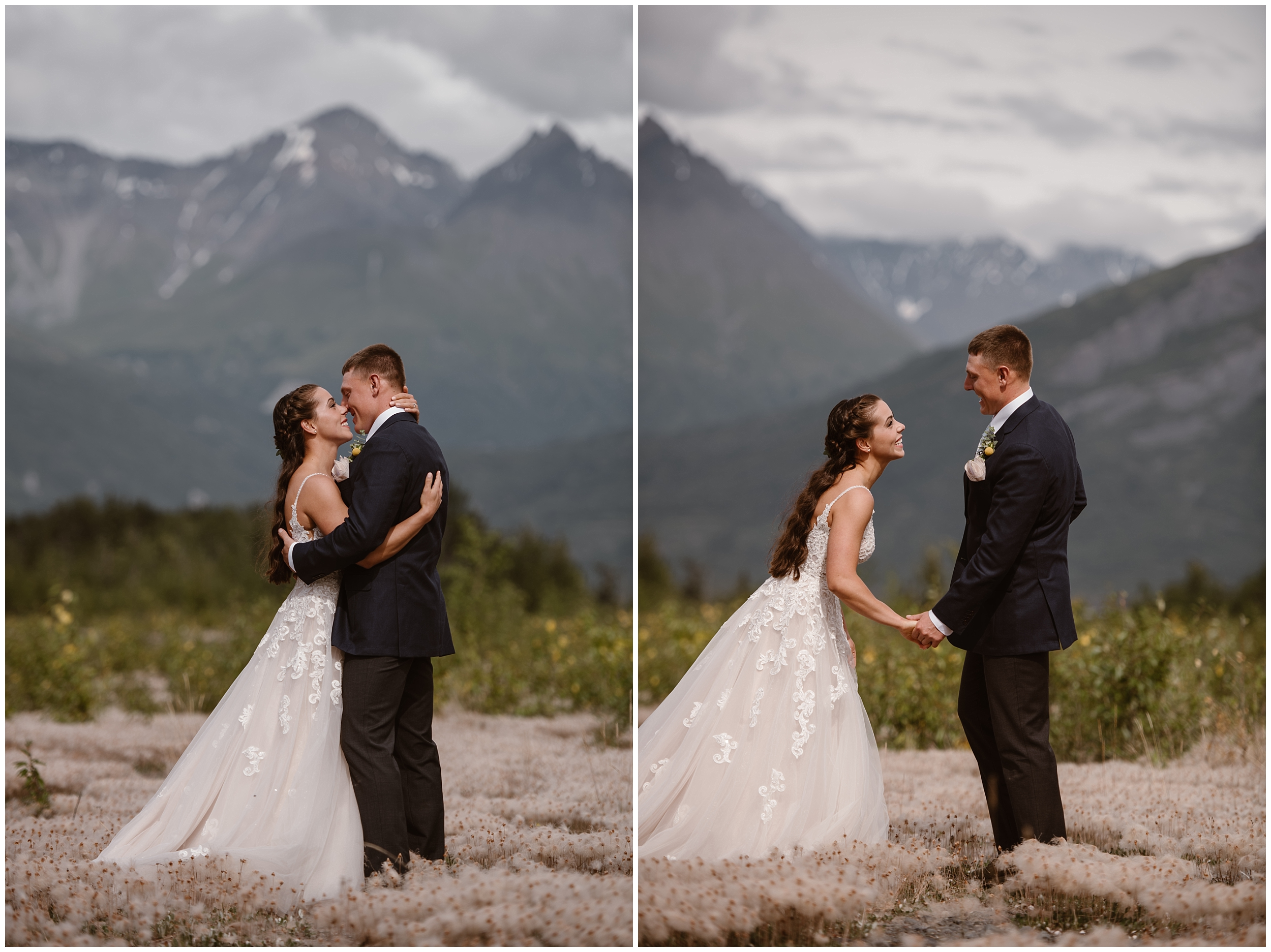This side-by-side image shows two photos of Jordyn and Connor when they see each other after their first look. In the left image, captured by Alaska destination wedding photographer Adventure Instead, the bride and groom embrace in the presence of epic mountain peaks and a flowered meadow. In the second photo, Jordyn and Connor hold hands and gaze into each other's eyes before their Alaska destination wedding.