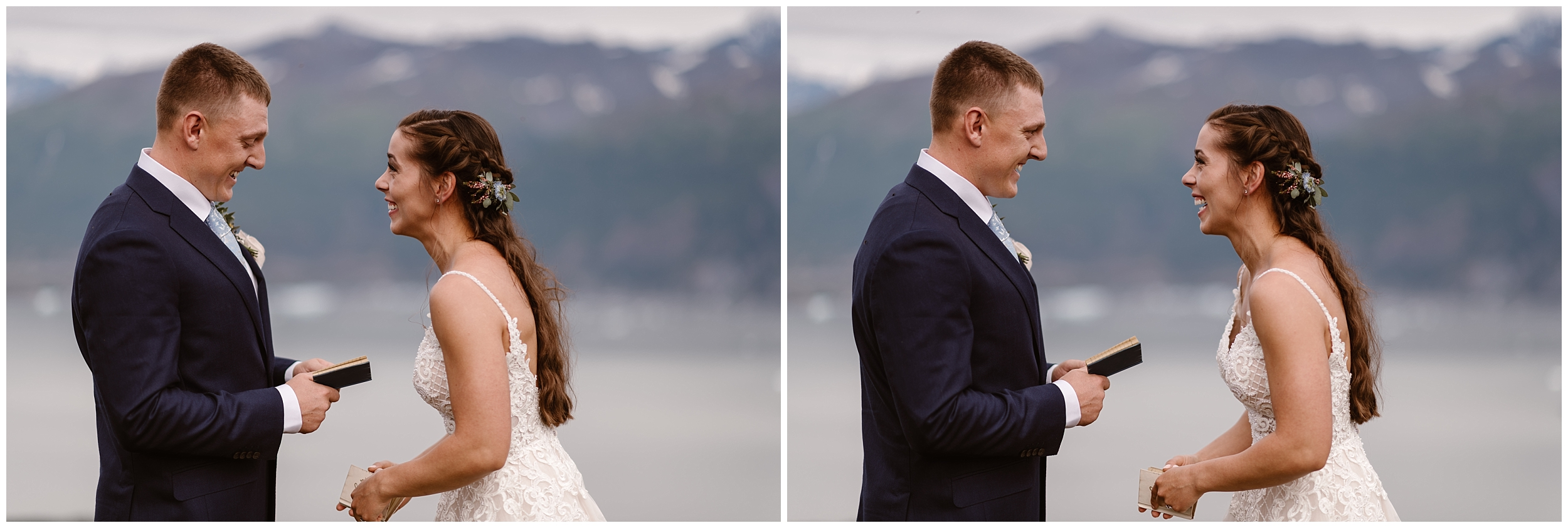 In this split image, Jordyn and Connor, the bride and groom , read their vows to each other. In the photo to the left, Connor reads his vows, looking down at his book, while Jordyn excitedly and eagerly listens. In the photo on the right, Jordyn stares at Connor as he looks up from his vows and smiles at Jordyn. In the background of this elopement photo of this Alaska destination wedding are mountains and a glaciated lake.