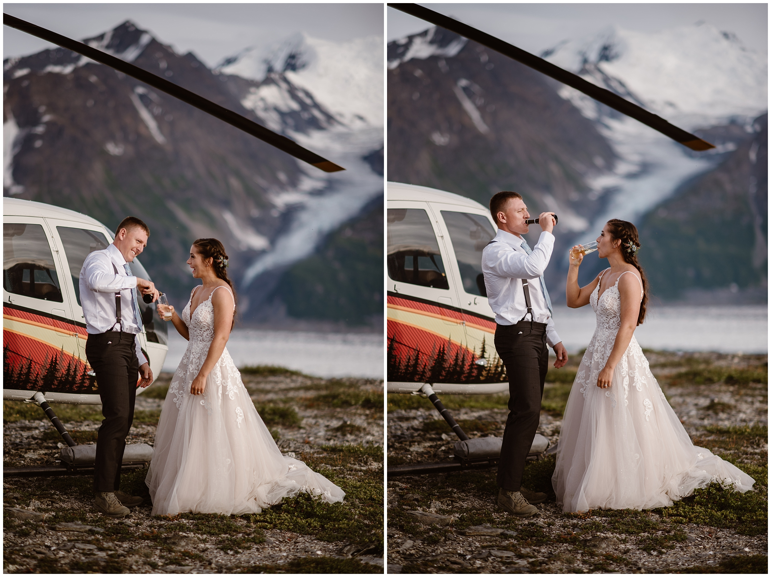 In this side-by-side photo, Jordyn and Connor pour champagne next to the helicopter to celebrate their Alaska helicopter elopement. In the photo on the left, Connor pours champagne into a glass for Jordyn after their elopement ceremony. In the photo on the right, the two drink their champagne together during their destination elopement.