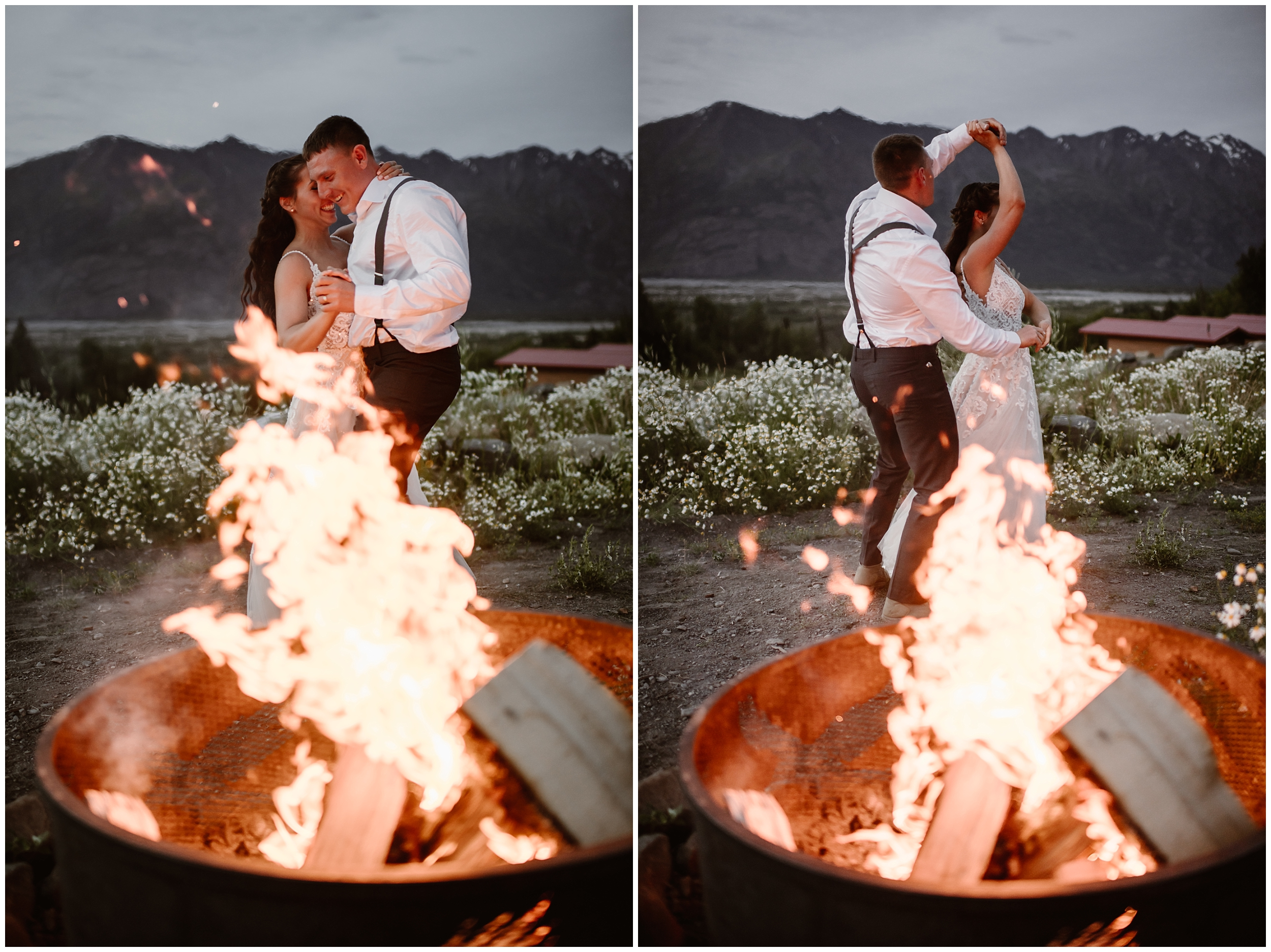 In this split image of two elopement photos taken by Adventure Instead, an elopement photographer, Jordyn and Connor have their first dance in front of a roaring campfire in the midst of blue hour. In the photo on the left, Jordyn and Connor hold each other close while they dance. In the photo on the right, Connor spins Jordyn around in front of the fire.