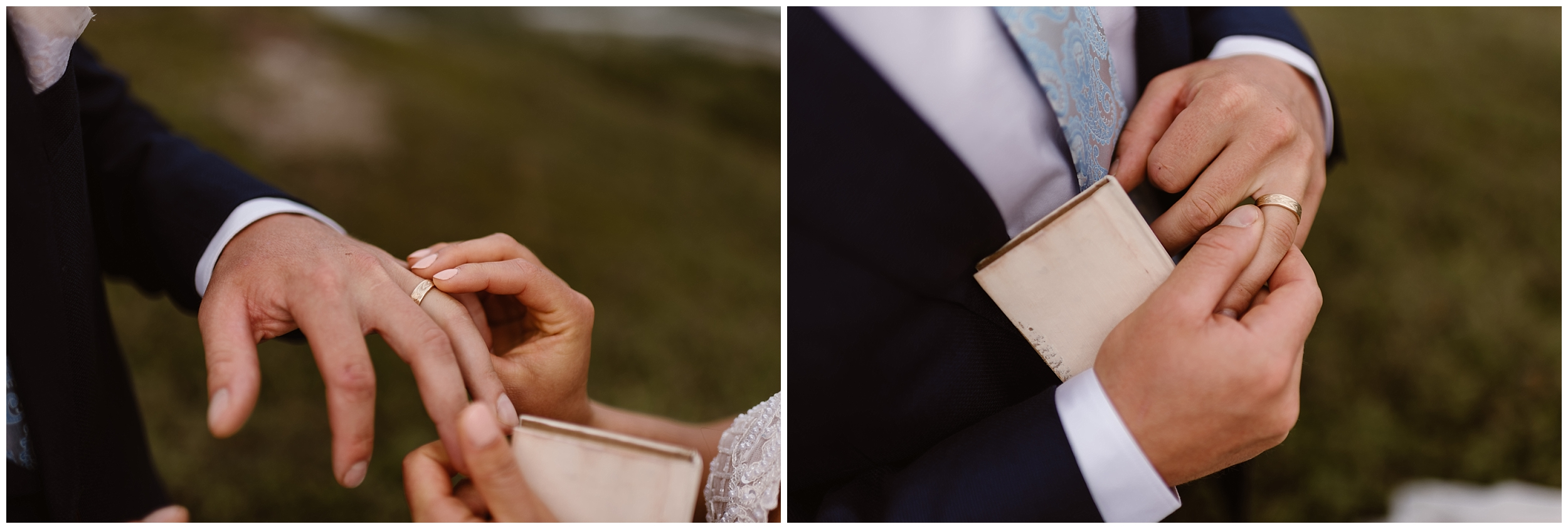 This image, composed of two side-by-side elopement photos, both show Connor's ring that Jordyn surprised him with. In the image on the left, Jordyn is placing the ring on Connor's finger. On the right side, Connor adjusts the ring to fit better on his finger. These elopement pictures were captured by Adventure Instead, Alaska wedding photographers.