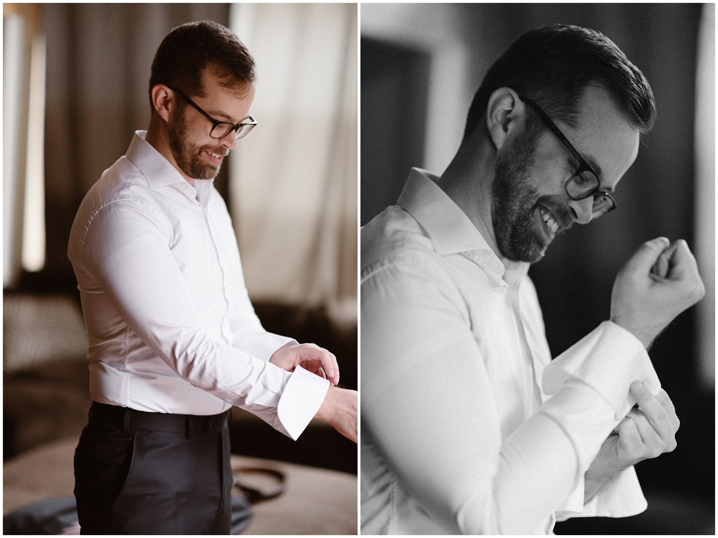 In these side-by-side elopement photos, Adventure Instead (an adventure wedding photographer) captures the groom, Logan getting ready before his elopement ceremony in Ouray, Colorado. The couple chose a 4x4 wedding as part of their adventure elopement.