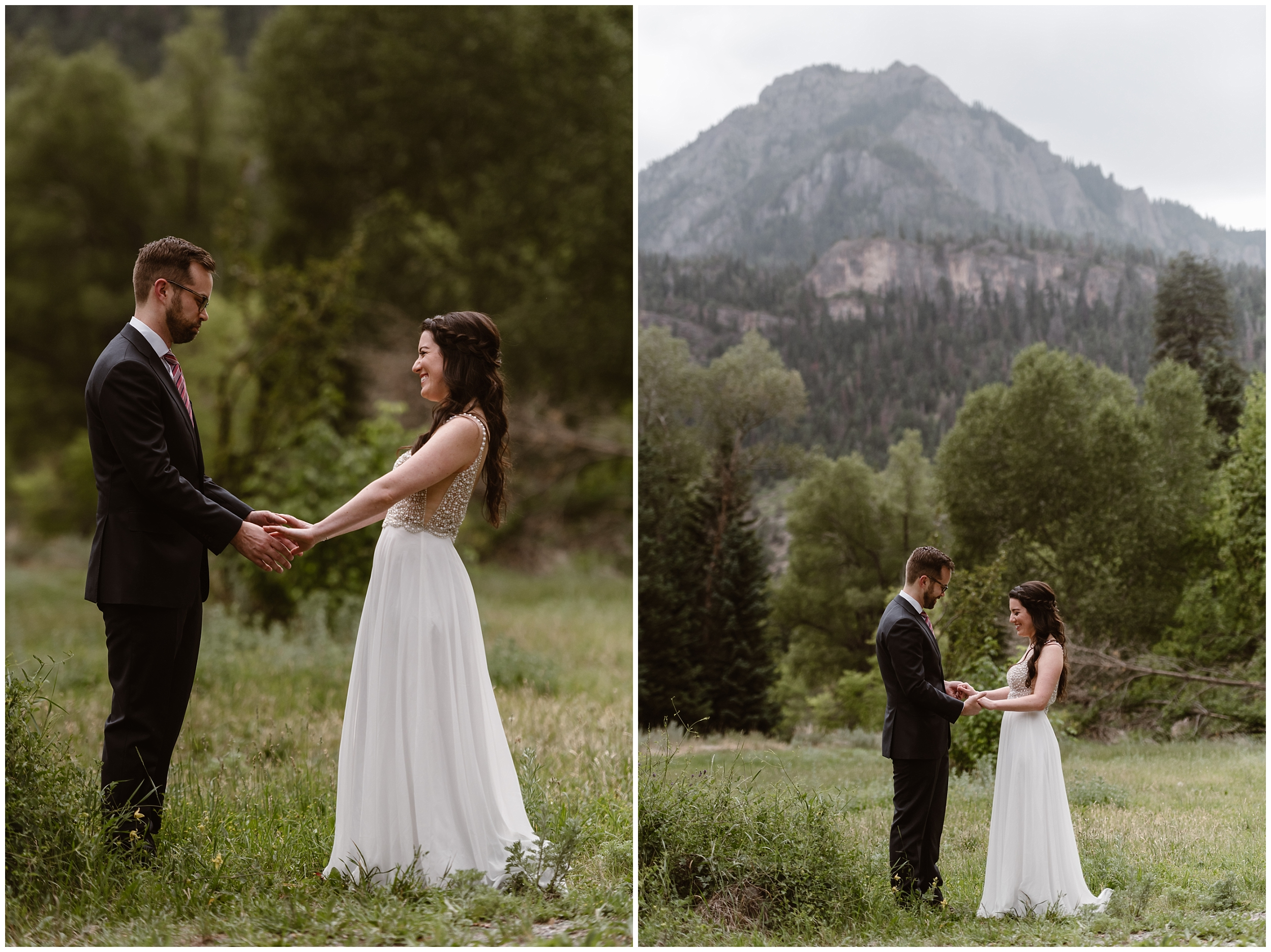 These side-by-side adventure elopement pictures show Katie and Logan during their first look, an exciting part of any elopement ceremony. The grand mountains in the background, as well as the bright, beautiful green trees growing everywhere make Ouray, Colorado one of the best elopement ideas.