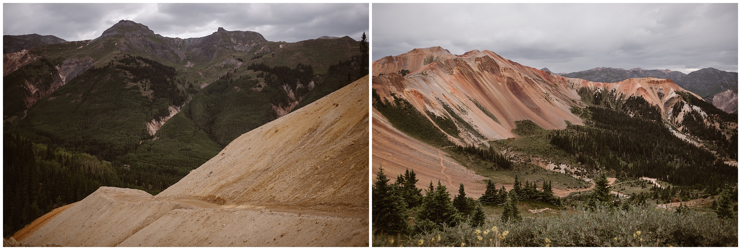 These side-by-side elopement pictures captured by elopement photographer Adventure Instead show off the gorgeous, diverse landscape of Ouray, Colorado, where Katie and Logan, chose to have their 4x4 wedding adventure. In the photo on the right, a sandy colored mountain stands juxtaposed against green and granite mountains in the background. On the right, a red mountain range looms in the distance among a green meadow.