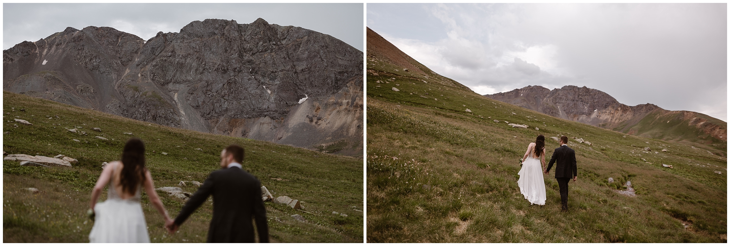 These side-by-side elopement photos, captured by Adventure Instead, show the bride and groom hiking up a lush, green Colorado mountain side toward the spot where they plan to have their elopement ceremony.